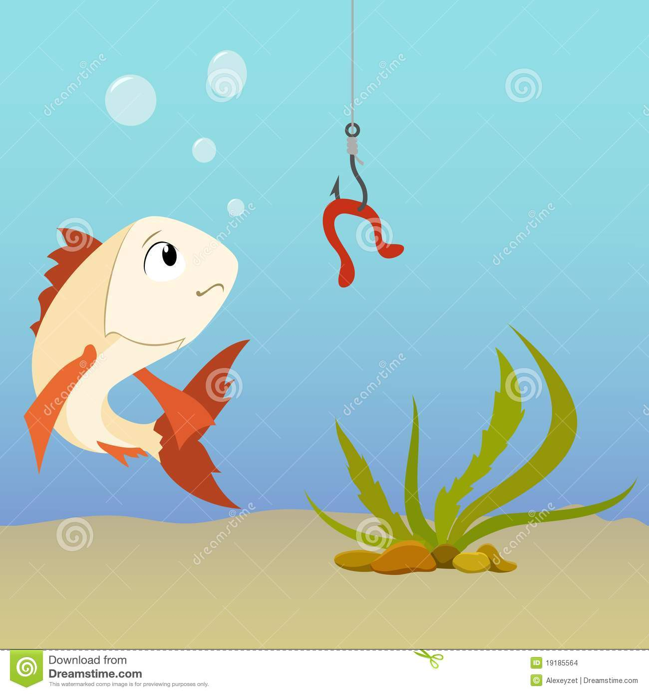 Cartoon fish underwater and earthworm on the hook stock for Fish and hook