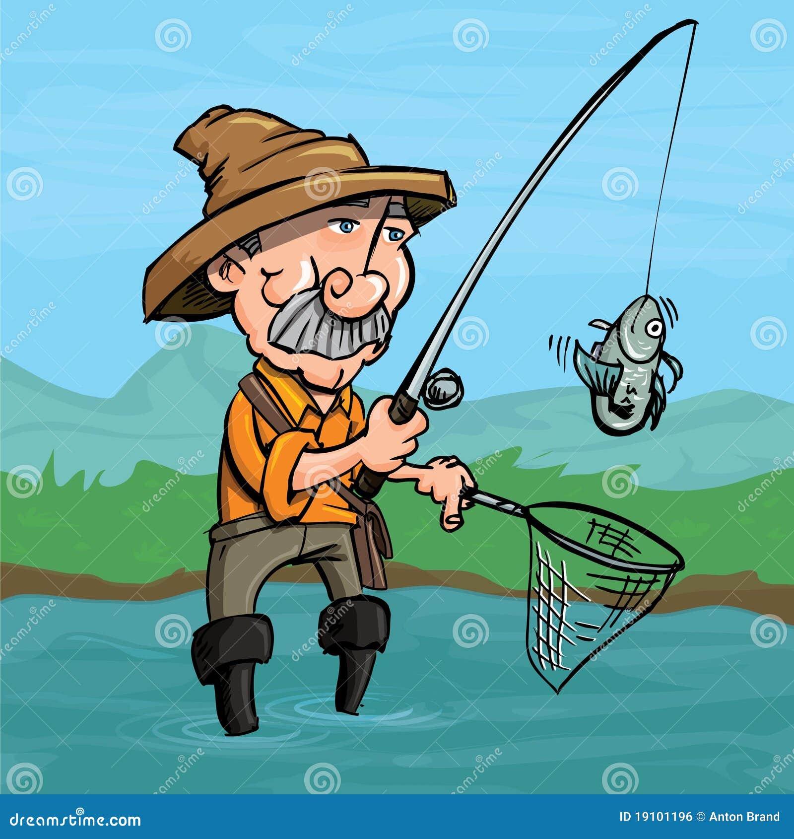 Cartoon Fisherman Catching A Fish Stock Vector