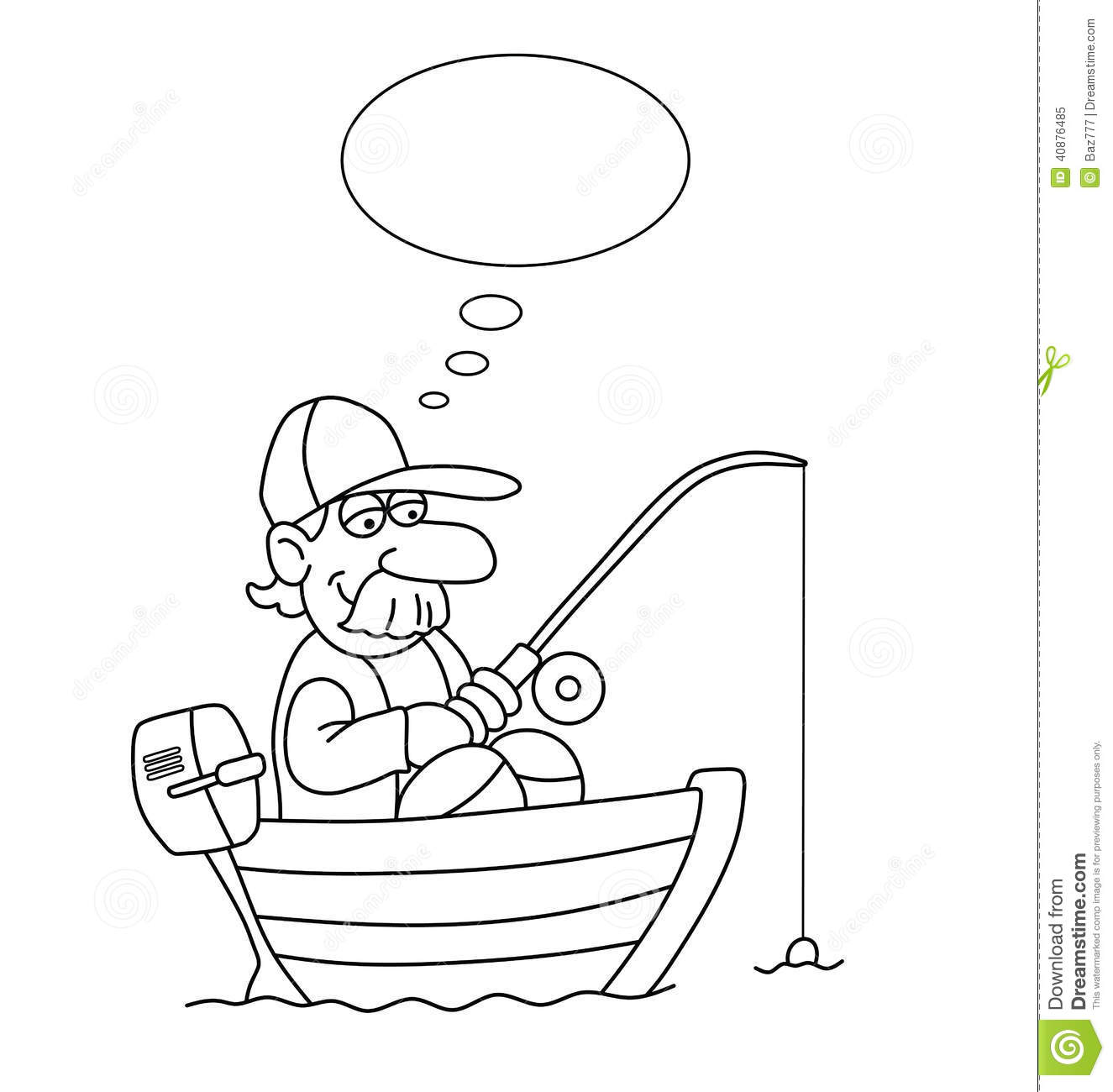 Monochrome outline cartoon fisherman in boat with thought bubble for ...