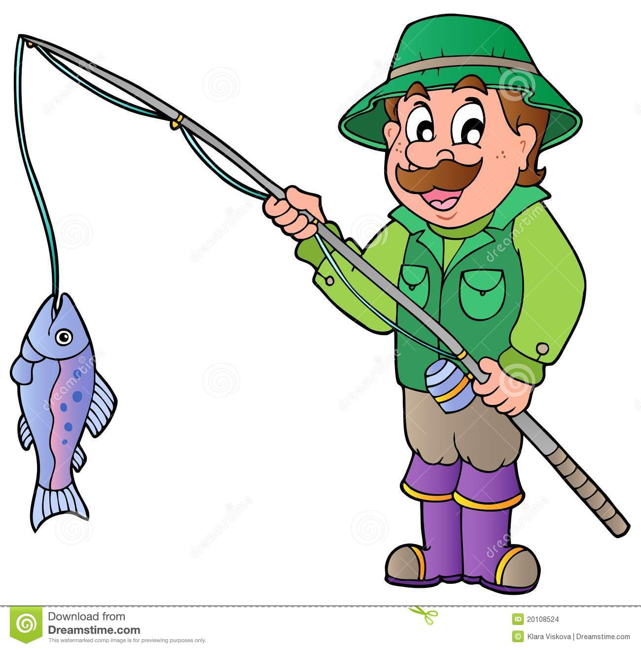 Cartoon Fisherman With Rod And Fish Stock Vector Illustration Of