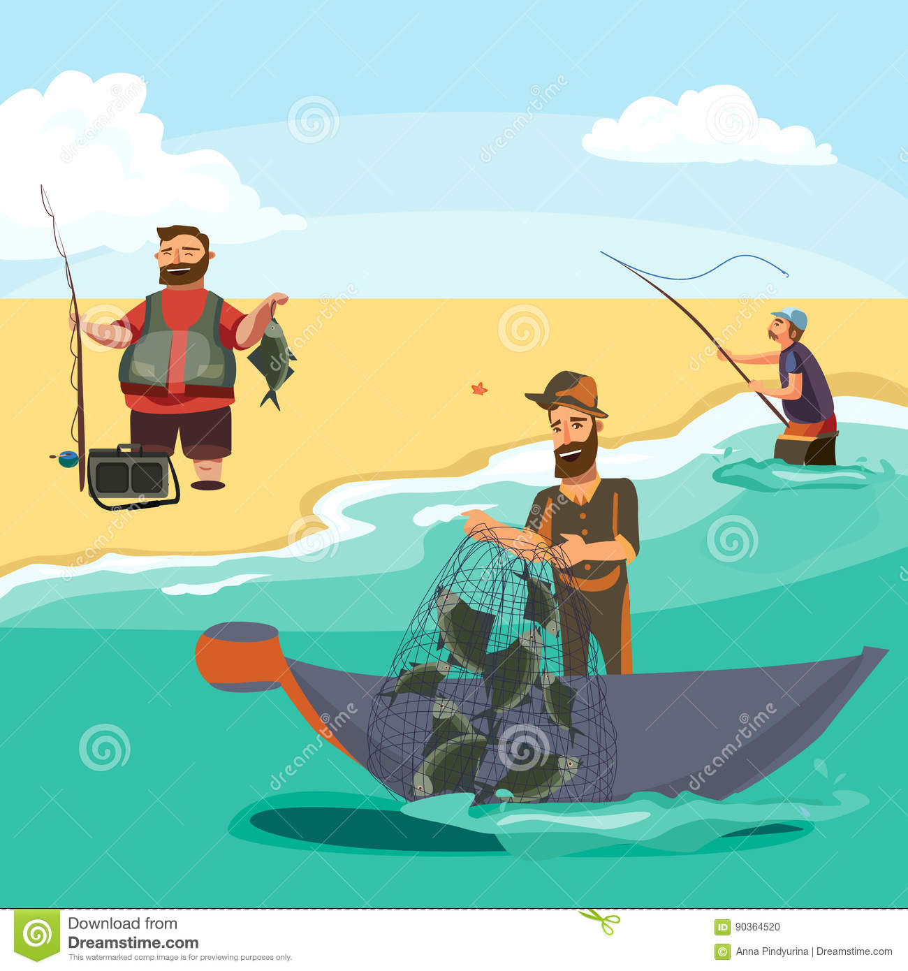 Cartoon fisherman standing in hat and pulls net on boat for Big 5 fishing license