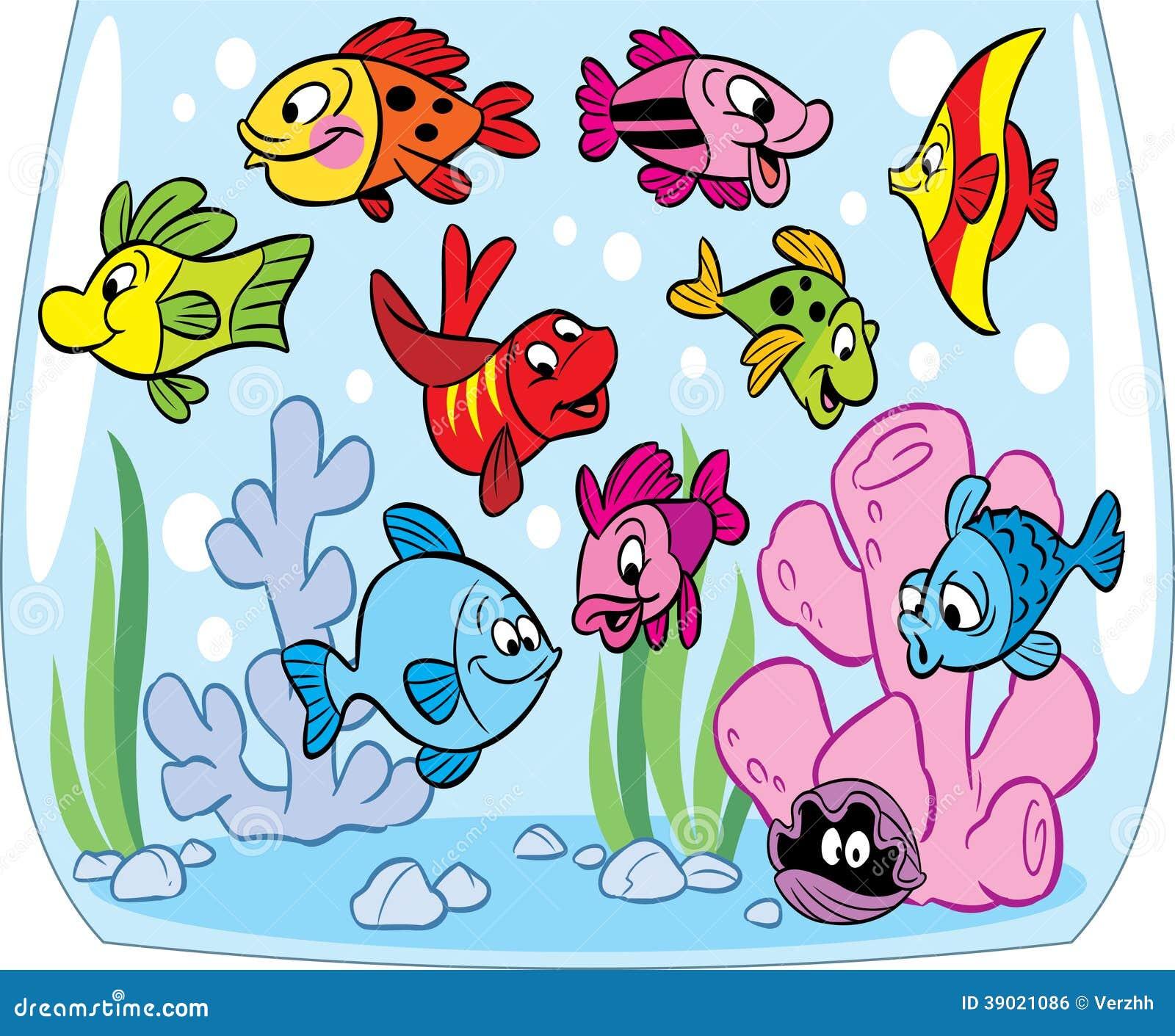 Floor Plan Template Free Cartoon Fishes In Aquarium Stock Vector Image 39021086