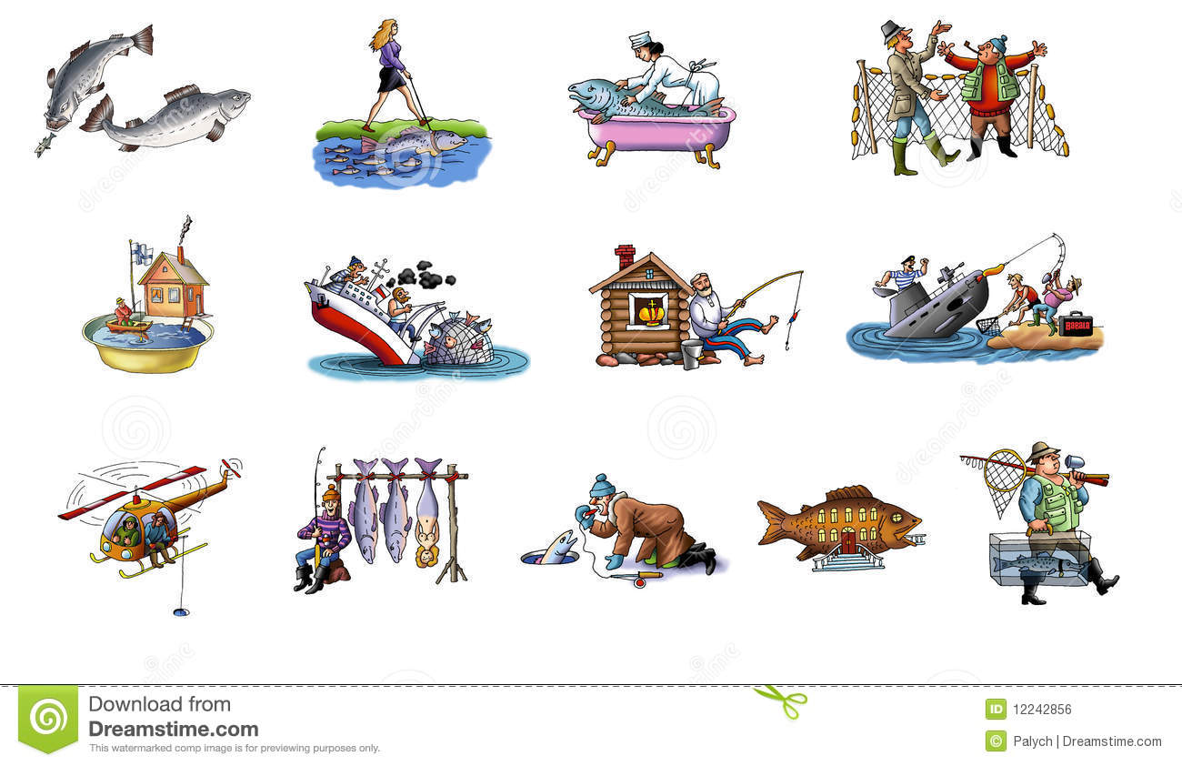 Cartoon about fishing stock illustration illustration of for Dream about fish