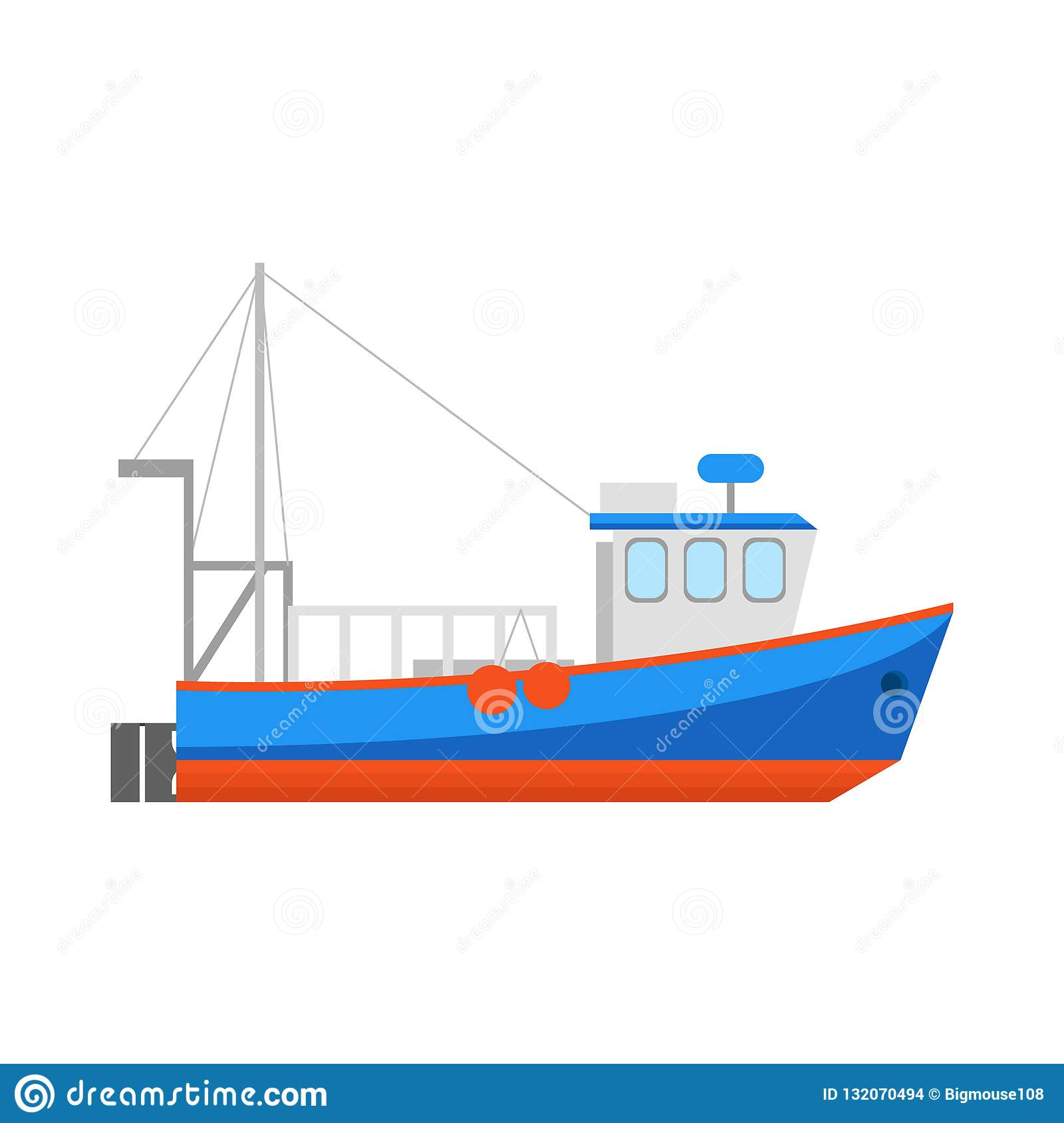 Cartoon Fishing Boat Icon On A White Vector Stock Vector Illustration Of Ocean Cabin 132070494