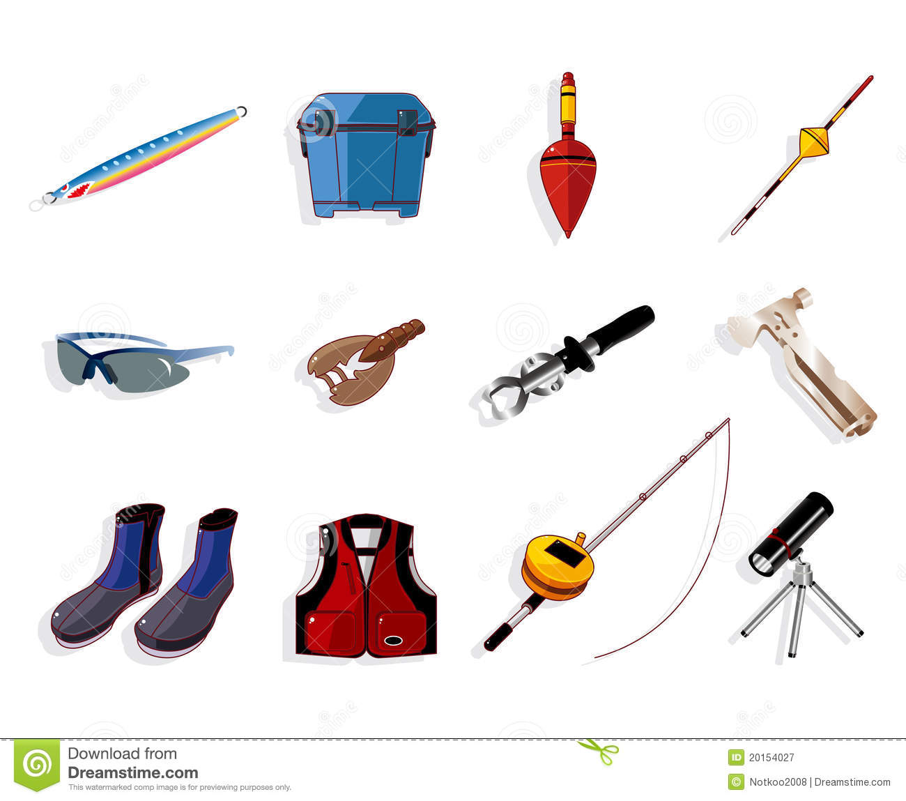 cartoon fishing equipment tools icon set , royalty free stock, Fishing Rod