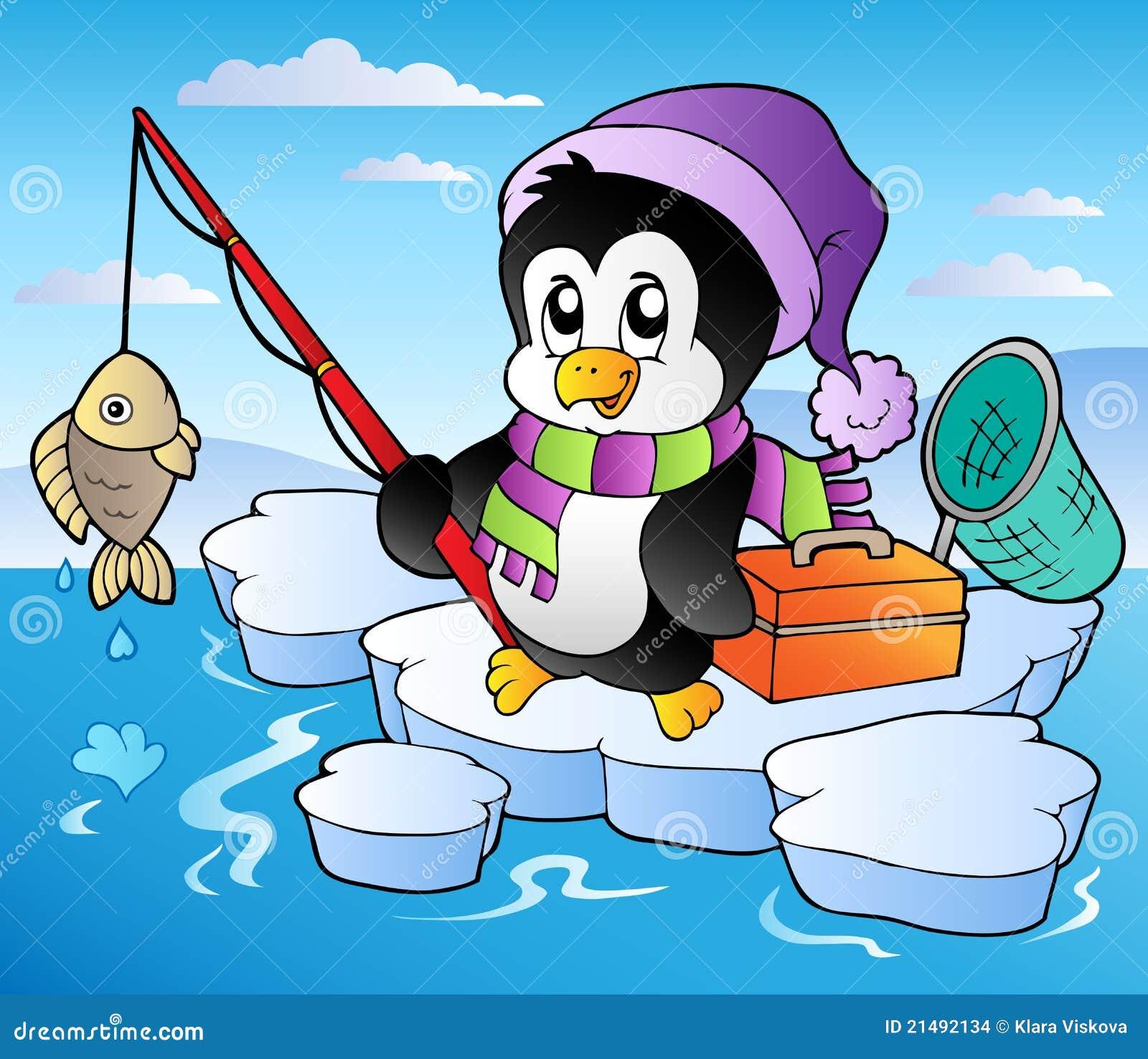 Cartoon Fishing Penguin Stock Images - Image: 21492134
