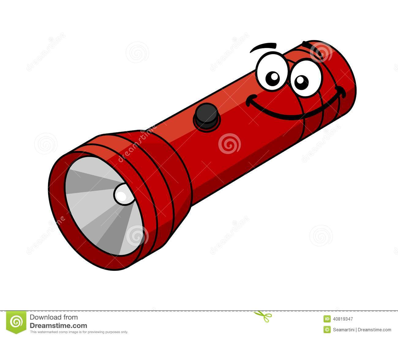 Red flashlight in cartoon style isolated on white background.