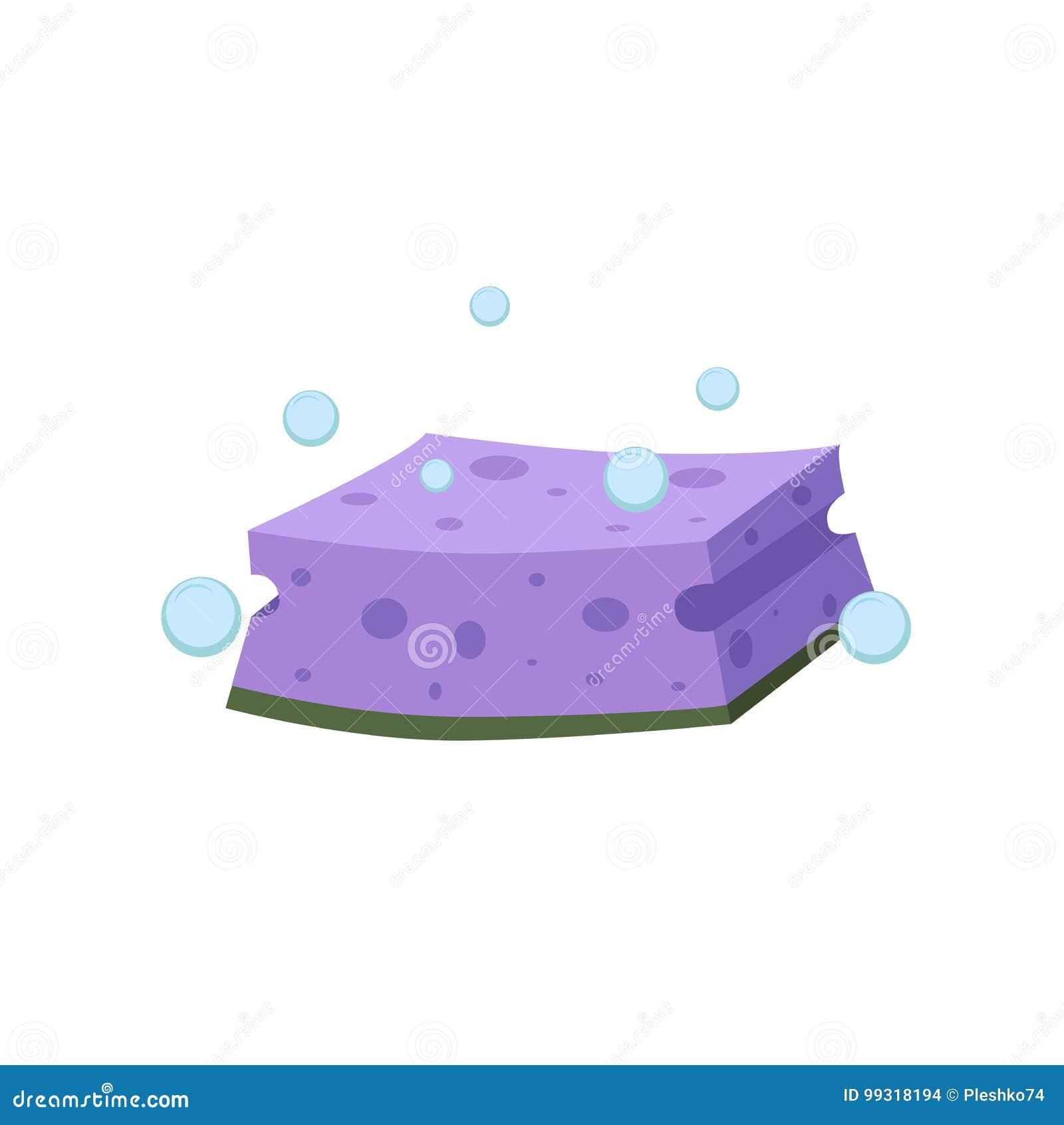 Cartoon Flat Design Washing Sponge. Kitchen And Bath