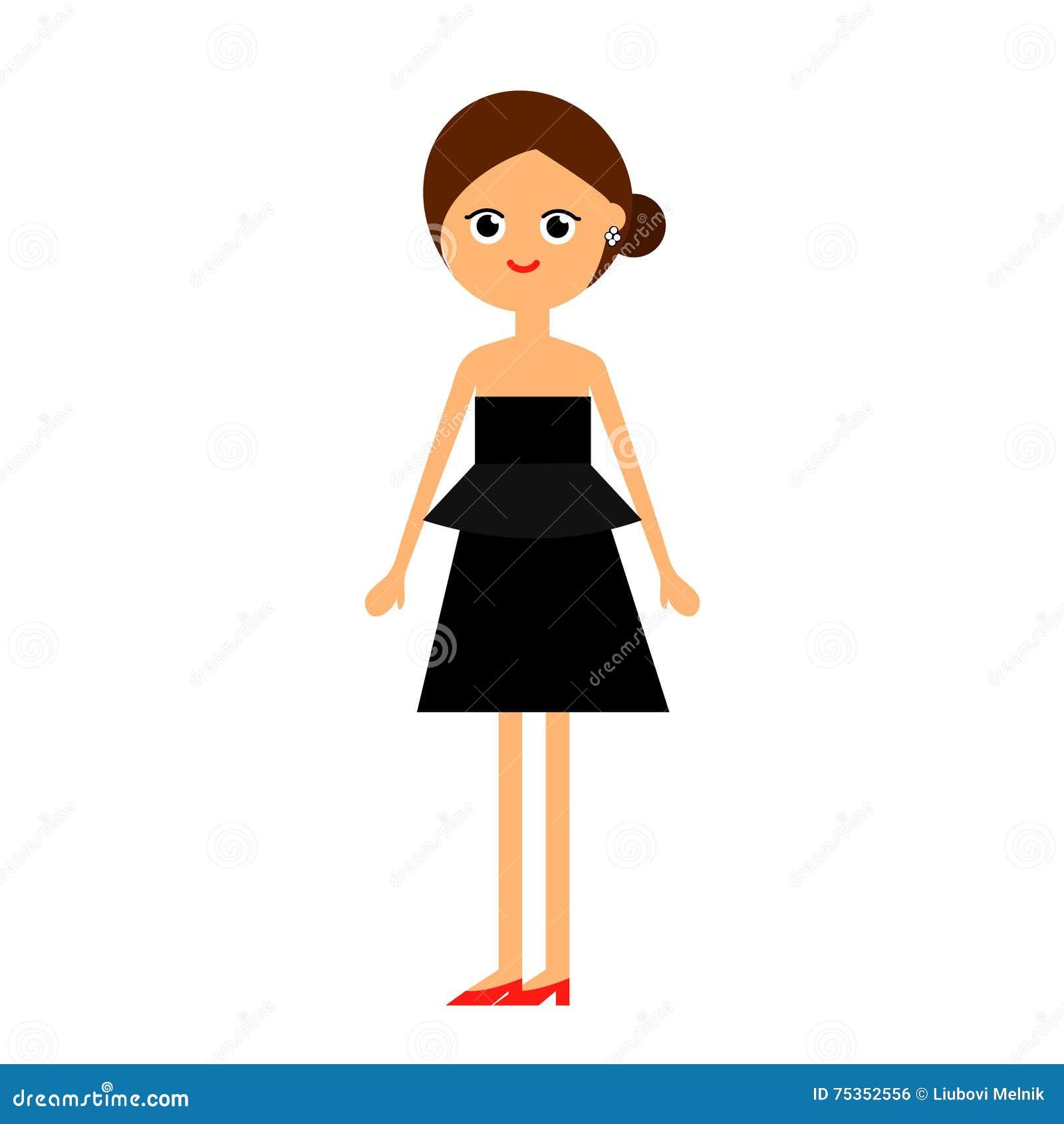Black dress girl image clip