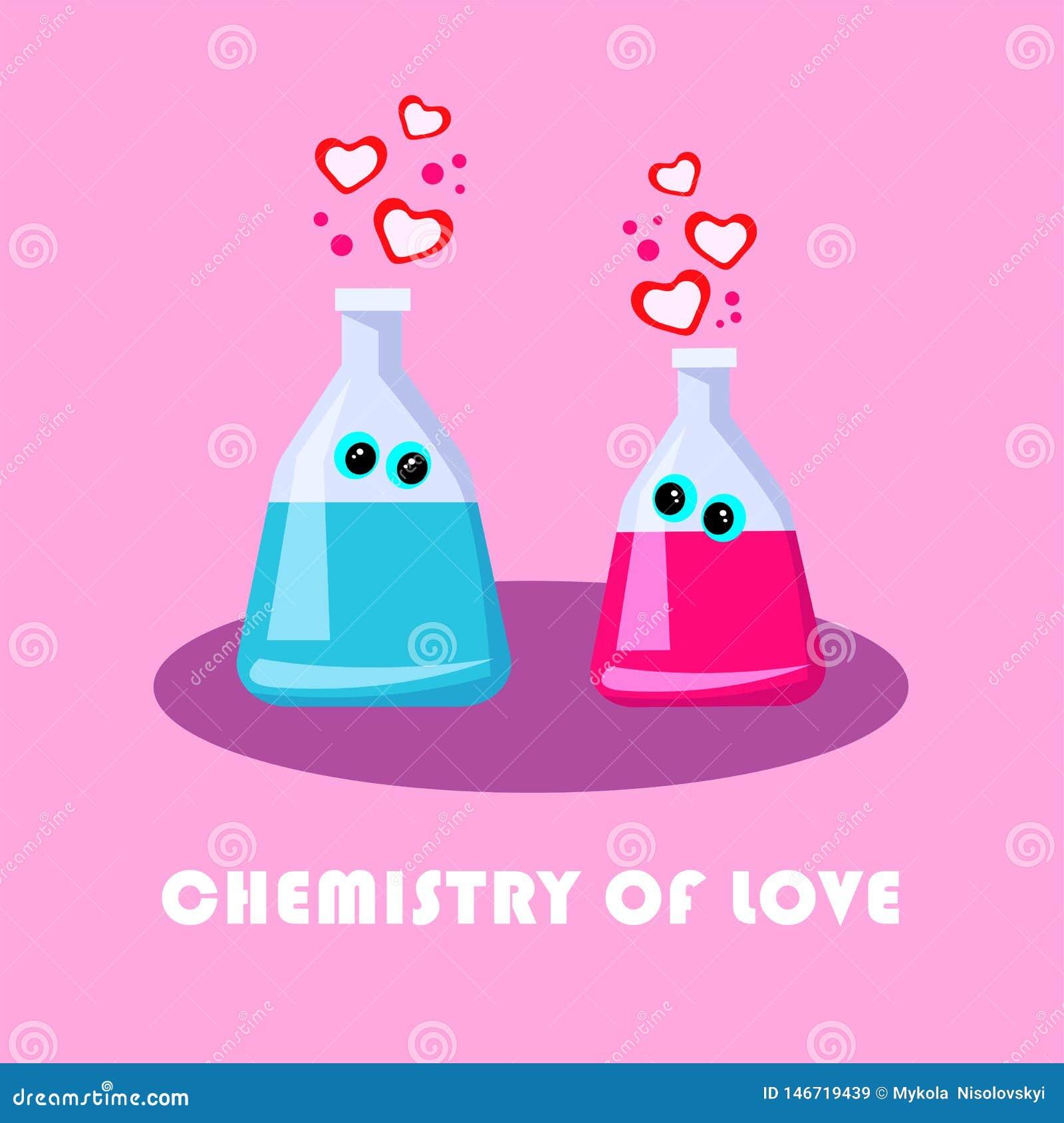 Cartoon Flat Inscription Chemistry of Love Vector.