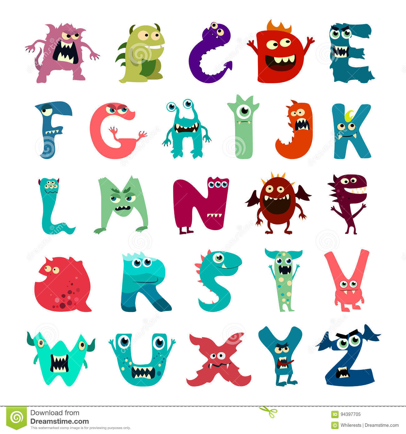 7 Letter Cartoon Characters : Cartoon flat monsters alphabet big set icons colorful