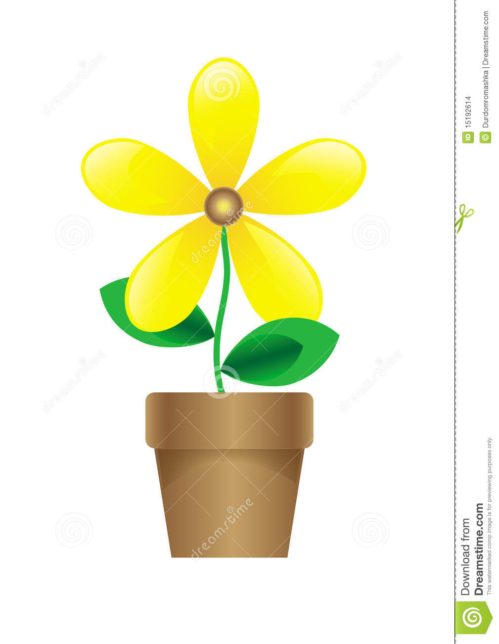 Vector cartoon yellow flower in the pot isolated on white.