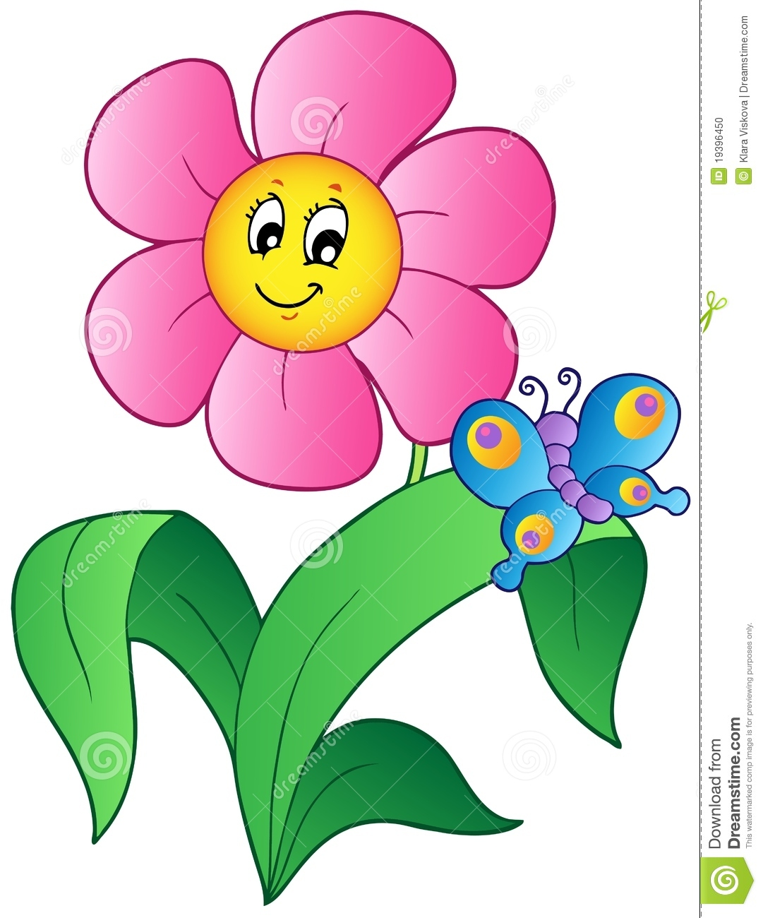 Cartoon Flower With Butterfly Stock Image