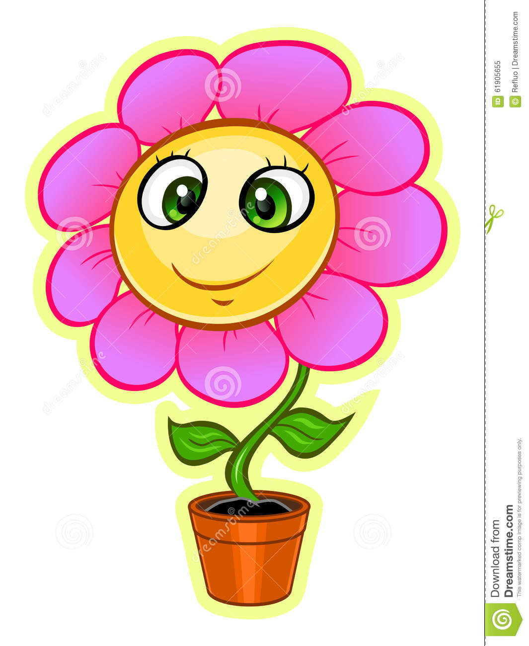 Cute cartoon pink flower growing from flowerpot.