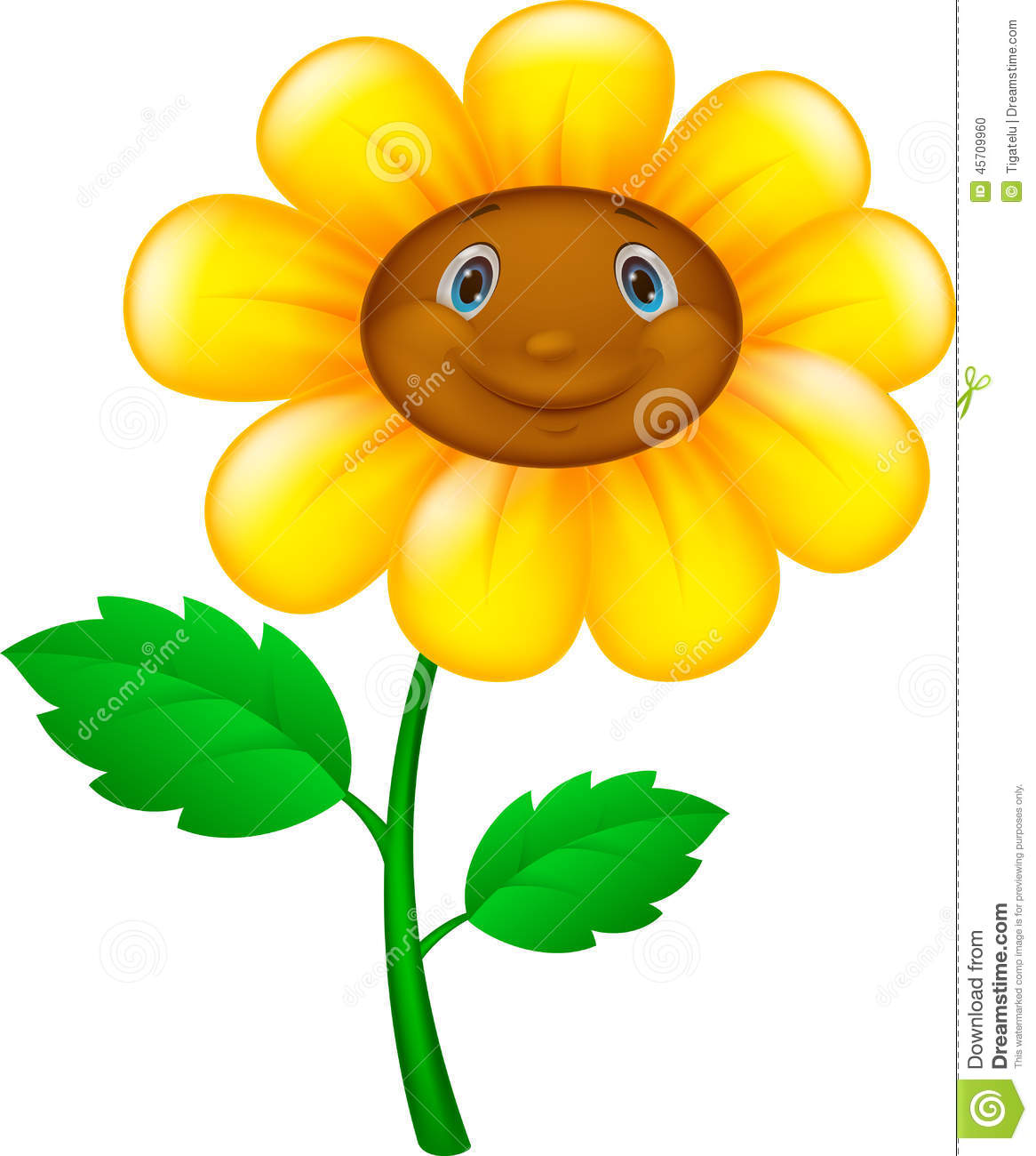 Cartoon Flower With Face Stock Vector Image