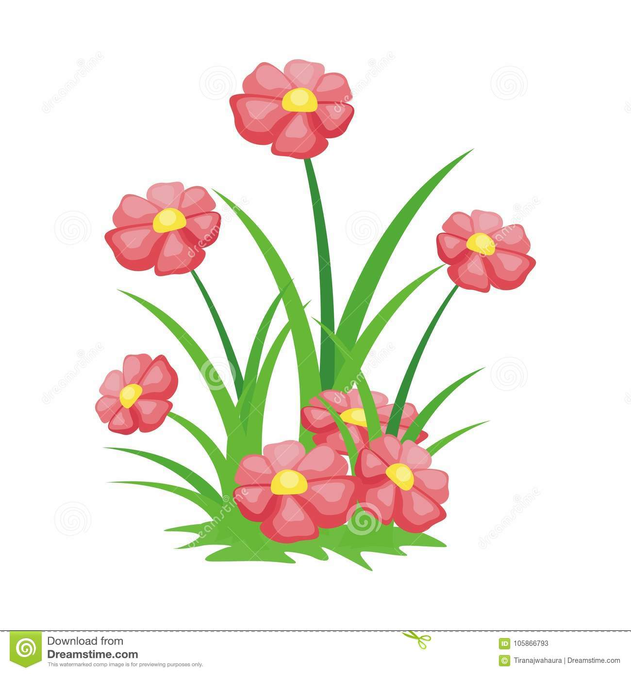 Cartoon Flower Illustration With Lovely And Cute Design Stock Vector Illustration Of Floral Collect 105866793