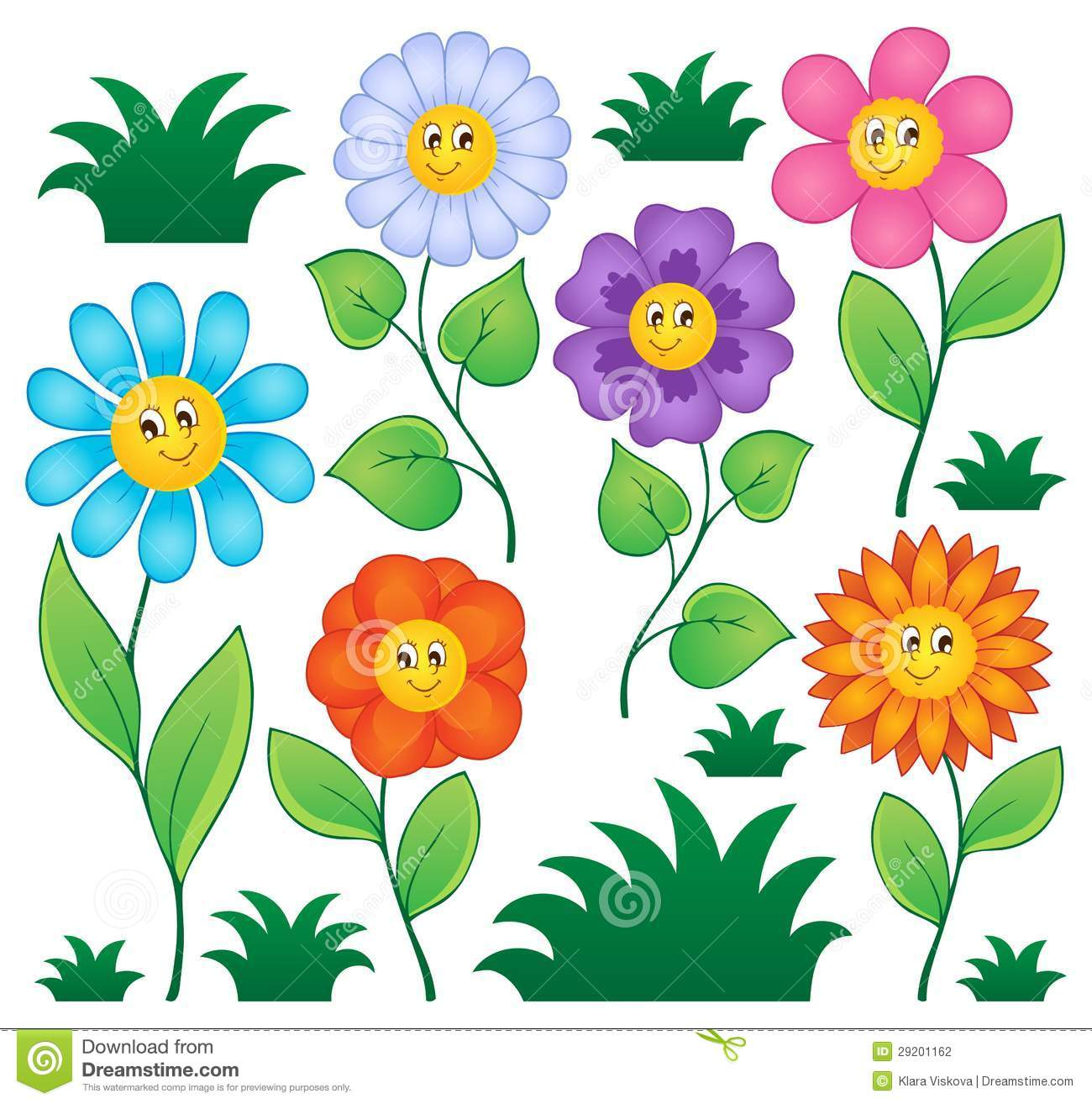 Cartoon Flowers Collection Stock Vector Illustration Of Beauty