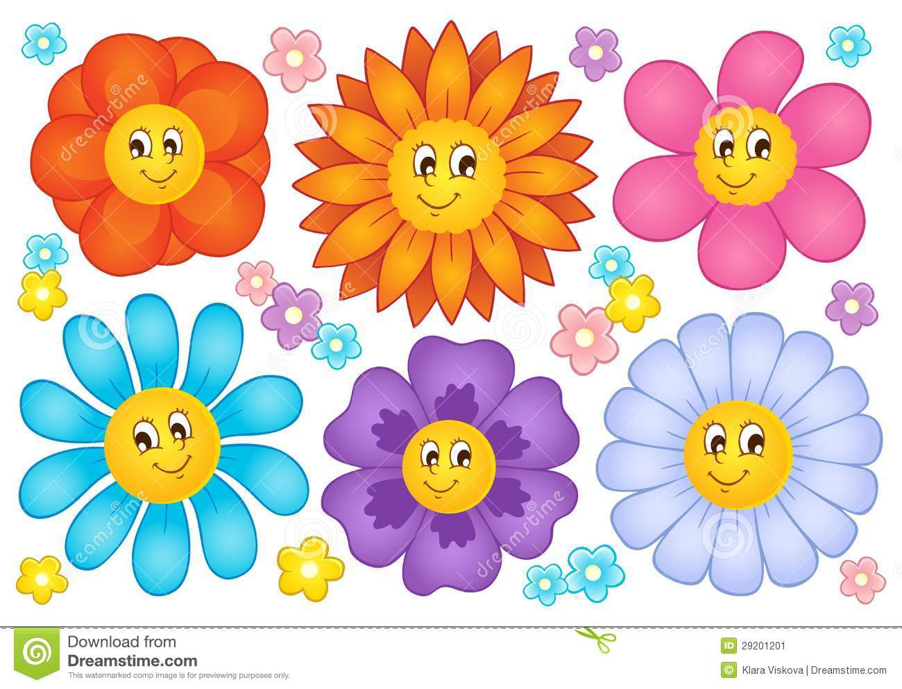 Cartoon flowers collection stock vector. Illustration of