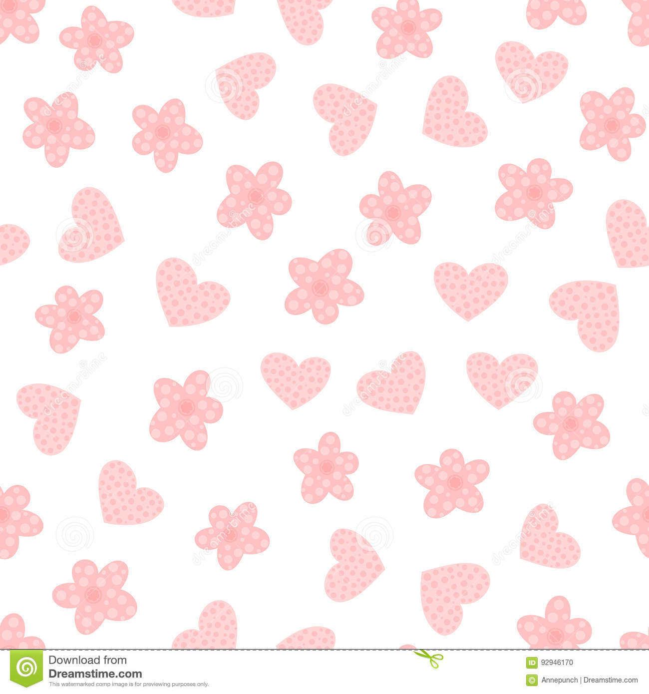 Download Cartoon Flowers And Hearts Cute Seamless Pattern Stock Vector