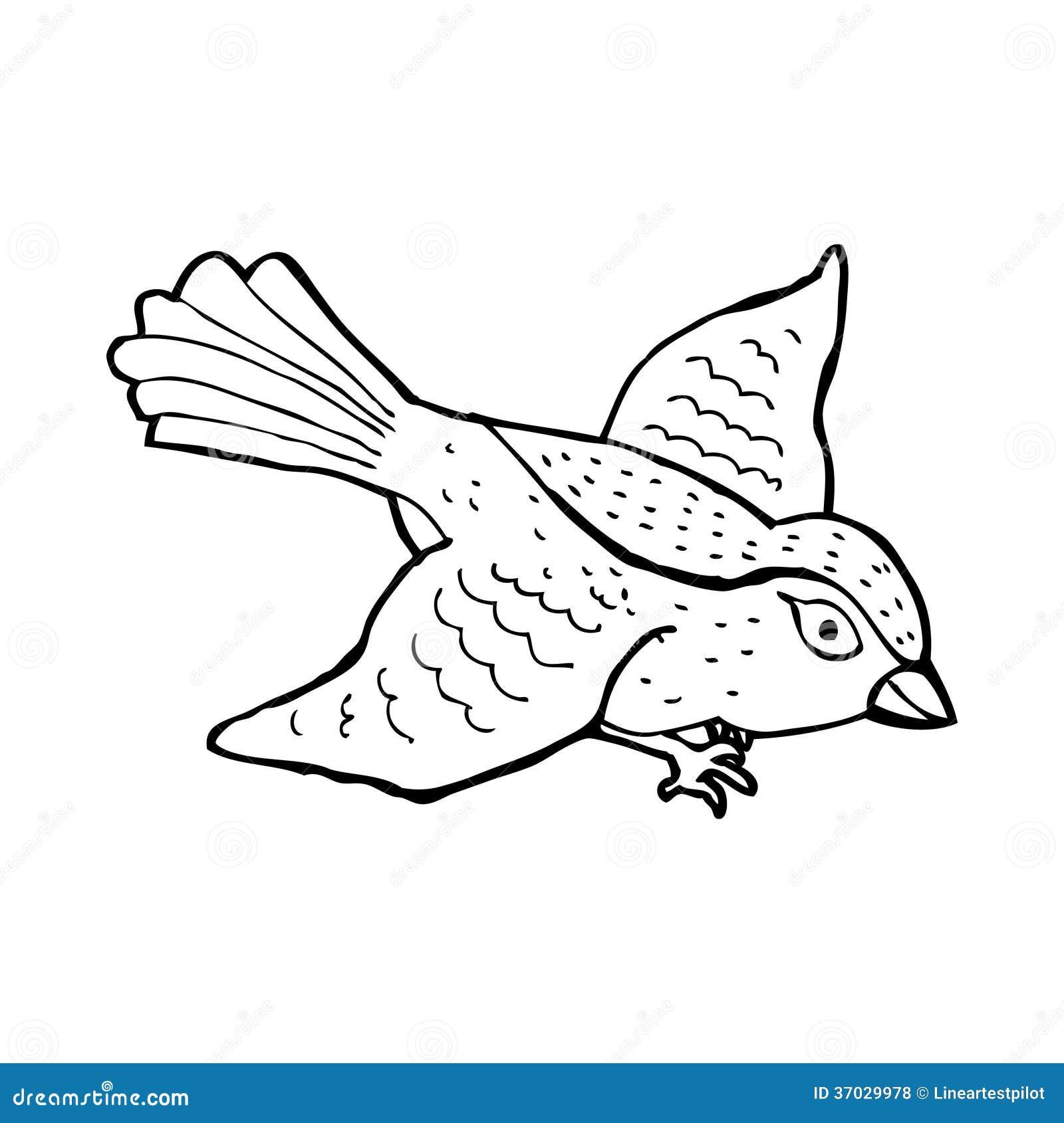 Flying bird cartoon black and white - photo#1