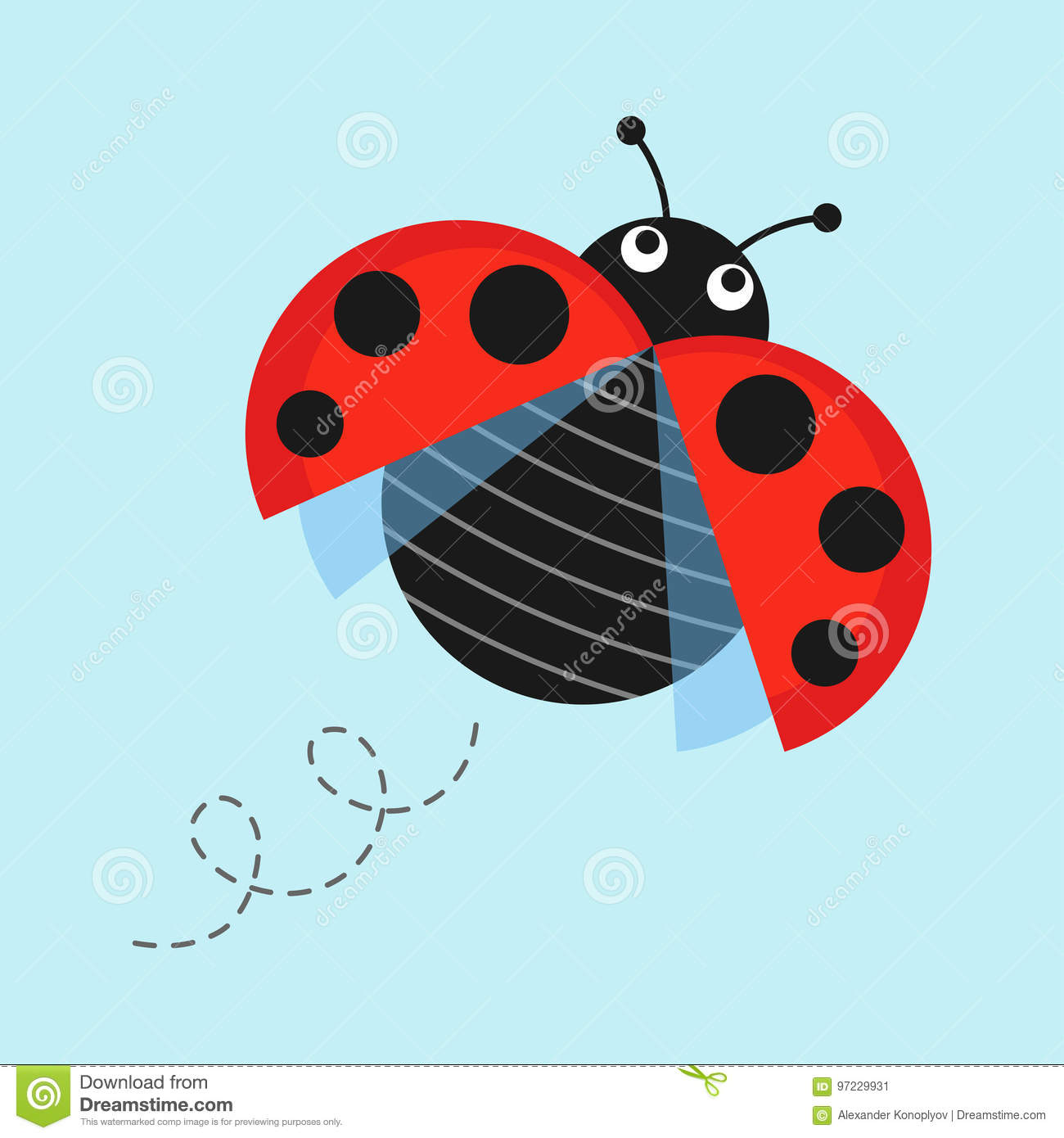 A Cartoon Ladybug cartoon flying ladybug stock vector. illustration of small