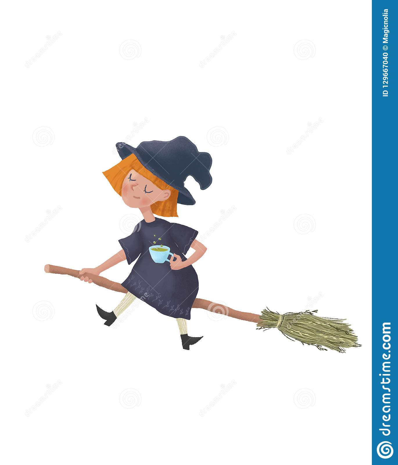 Cartoon flying Little sleepy witch on a broomstick. Cute character illustation as print design and postcard. Raster Illustration I