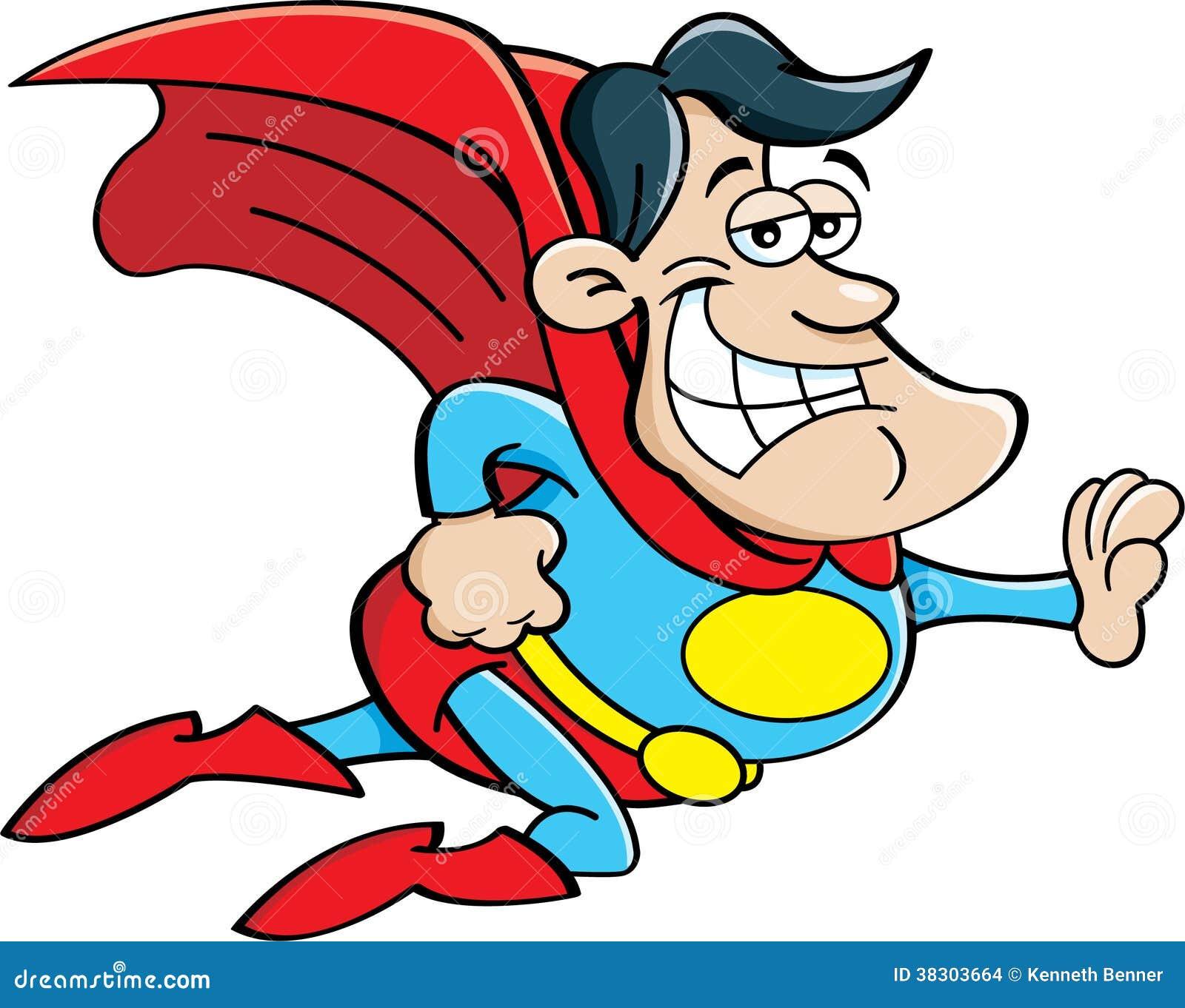 Cartoon Flying Superhero Stock Images - Image: 38303664