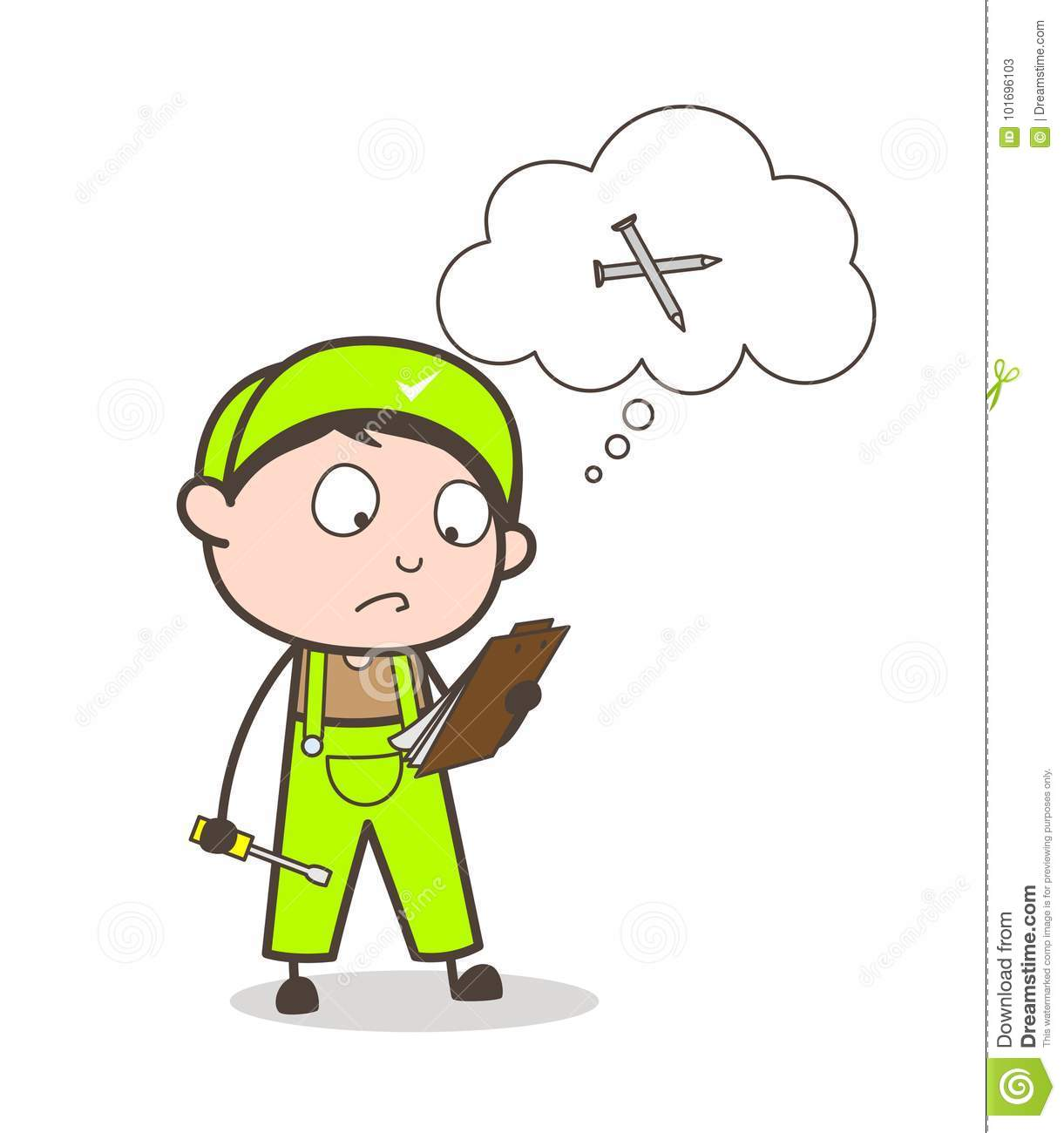 Cartoon Foreman Forget To Note Nails In Tools List Vector