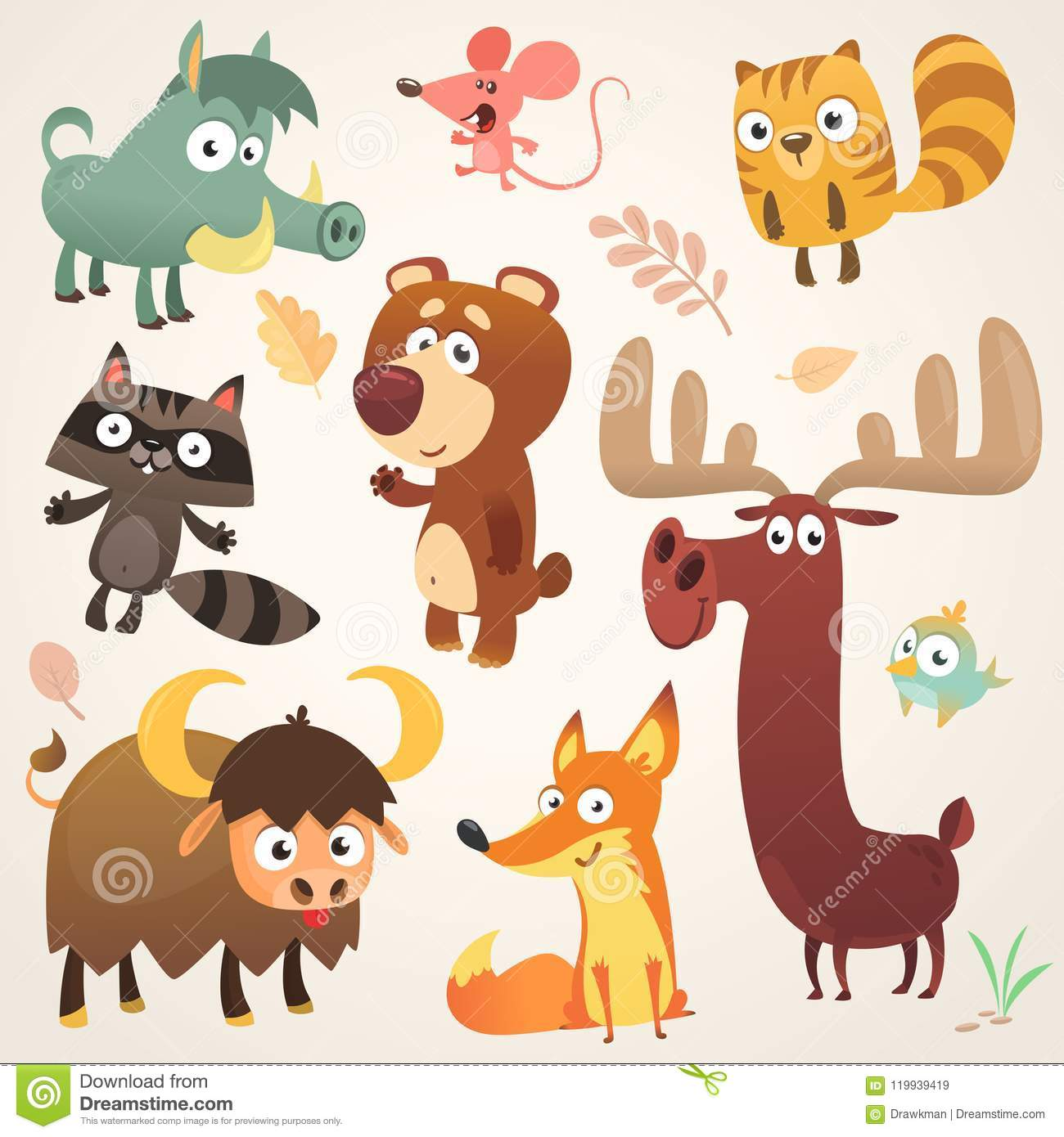 Cartoon forest animal characters. Vector illustration. Big set of cartoon forest animals illustration