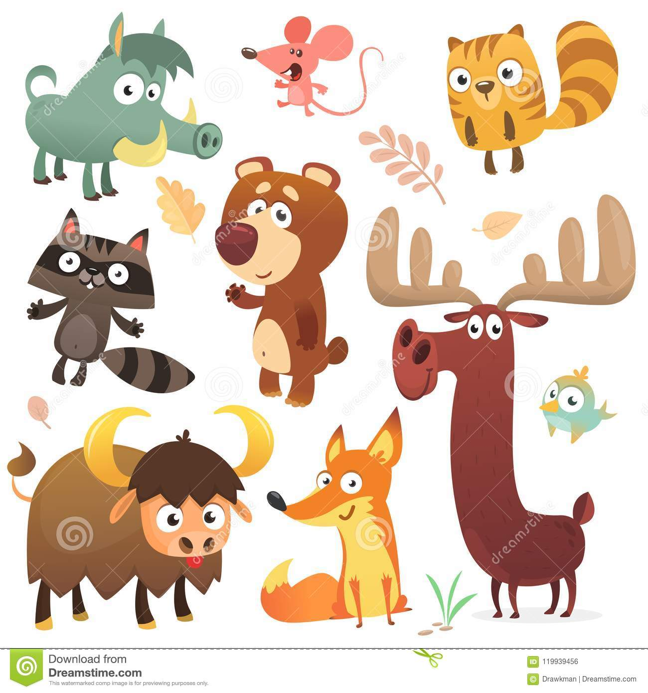 Cartoon forest animal characters. Wild cartoon cute animals collections vector. Big set of cartoon forest animals flat vector