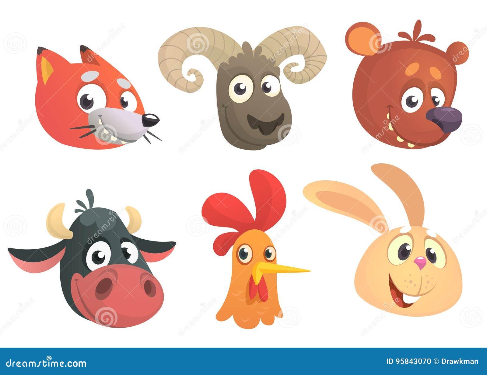 Cartoon Forest Animals. Vector Illustration. Fox, Sheep