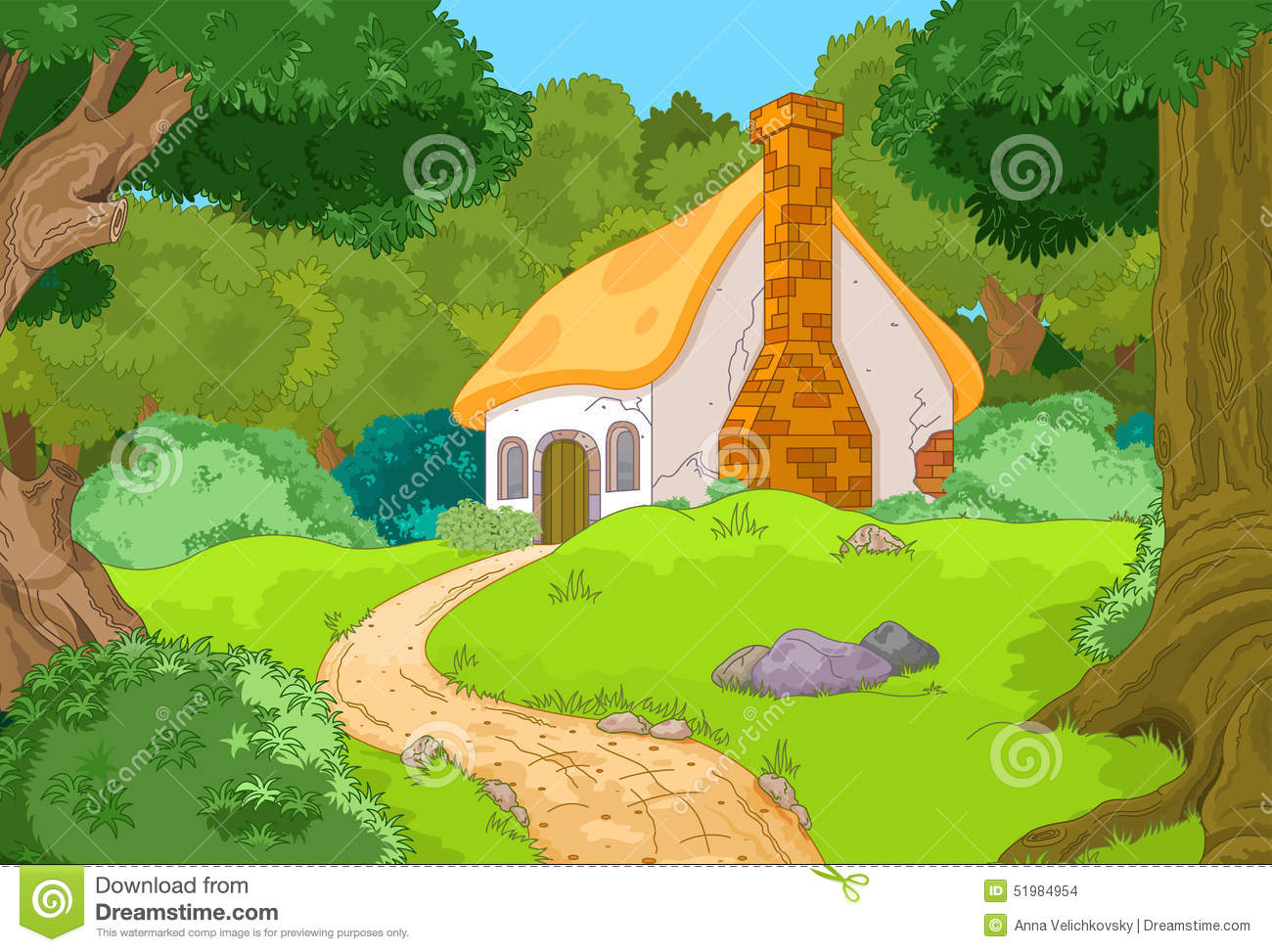 Cartoon Forest Cabin Stock Vector Image 51984954