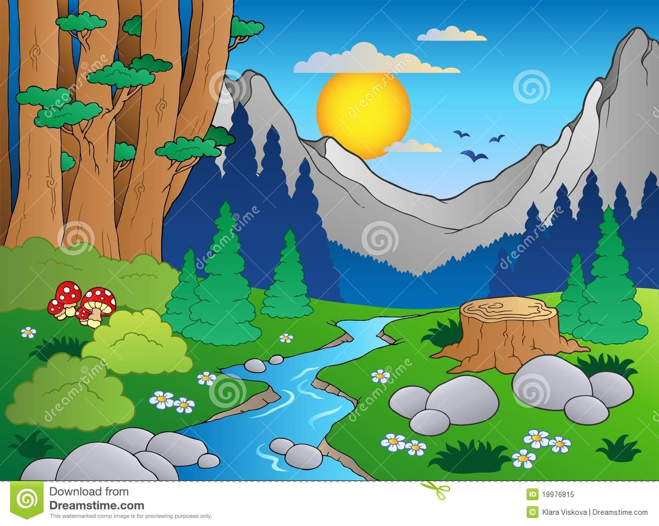 Download Cartoon forest landscape 2 stock vector. Illustration of draw - 19976815