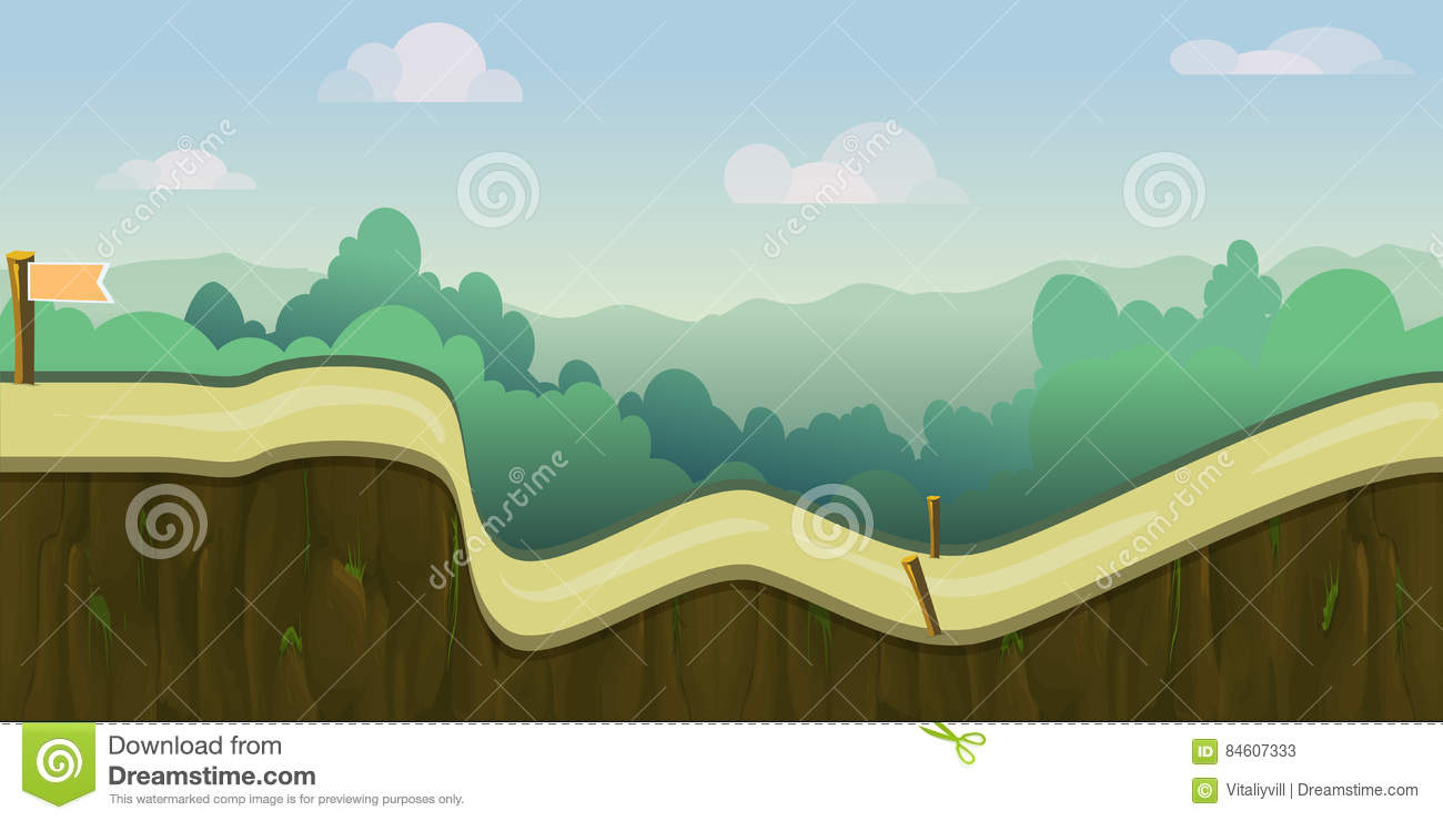 cartoon forest landscape endless vector nature background for