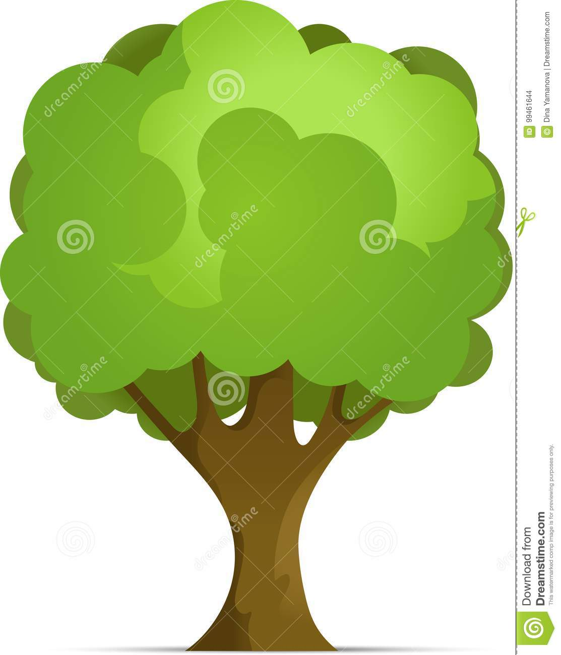 Cartoon Forest or Park Tree With Gradient Isolated on White Background. Vector Illustration with Shadow.