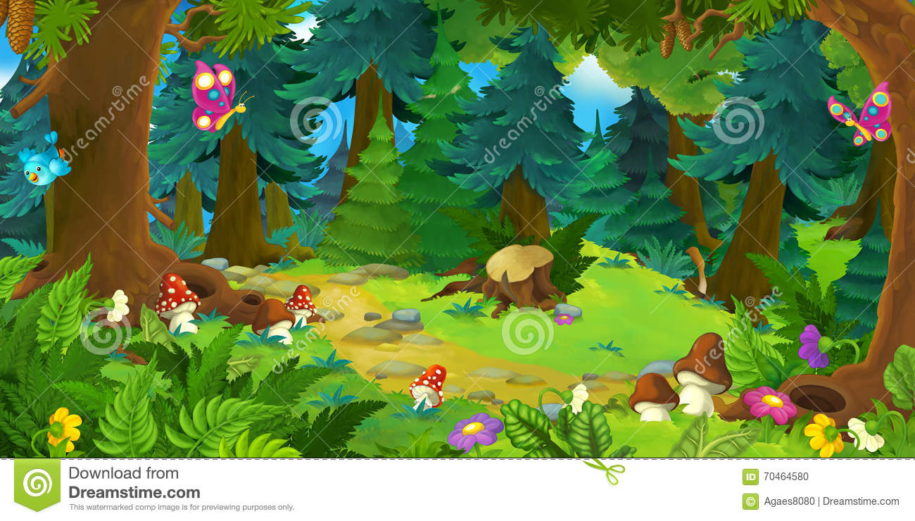 cartoon forest scene background different fairy tales happy beautiful illustration children 70464580