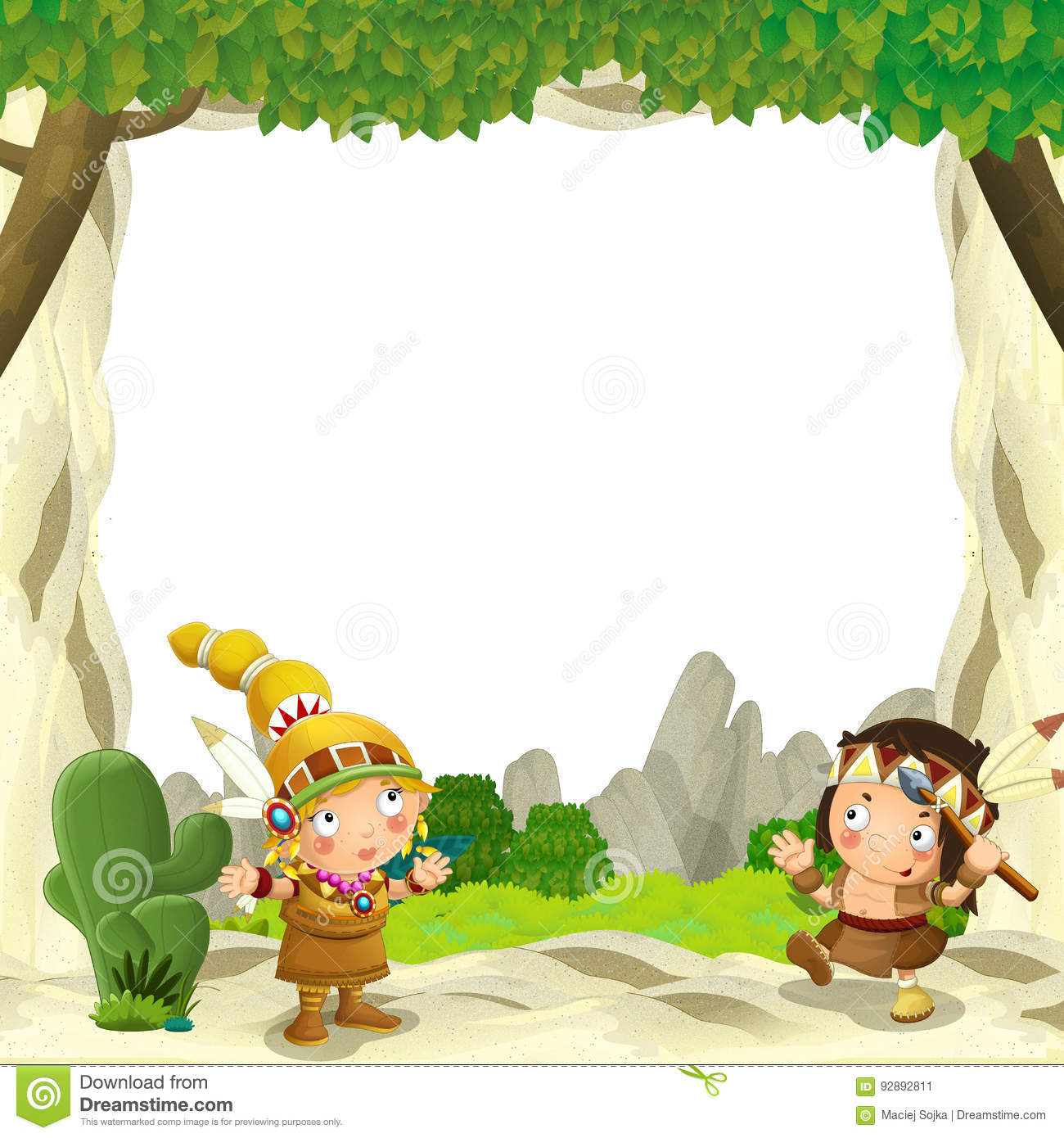 Cartoon frame for different usage indian characters husband with a spear and wife standing near the tee pee