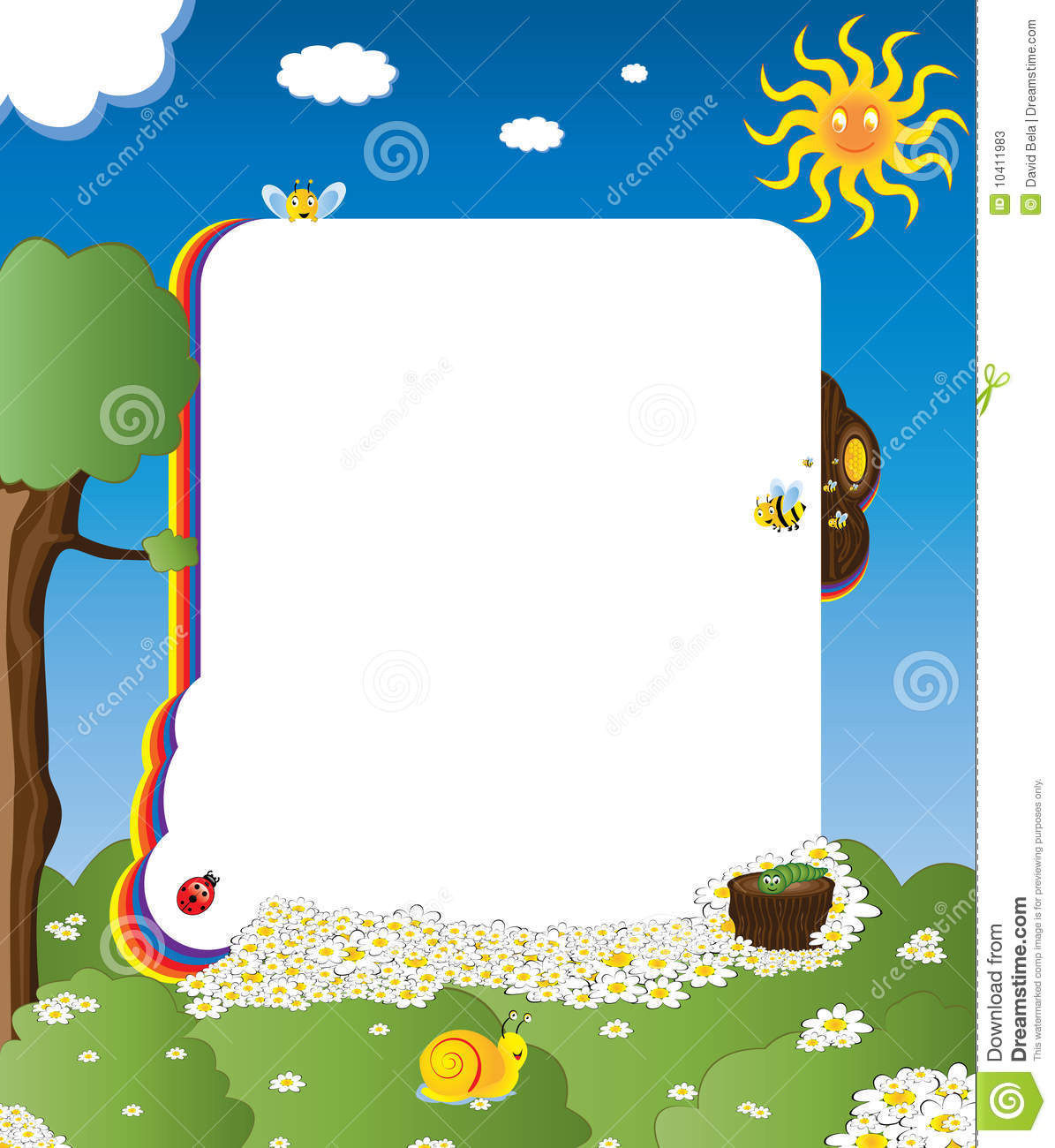 Cartoon Frame With Happy Insects Stock Vector - Illustration of ...