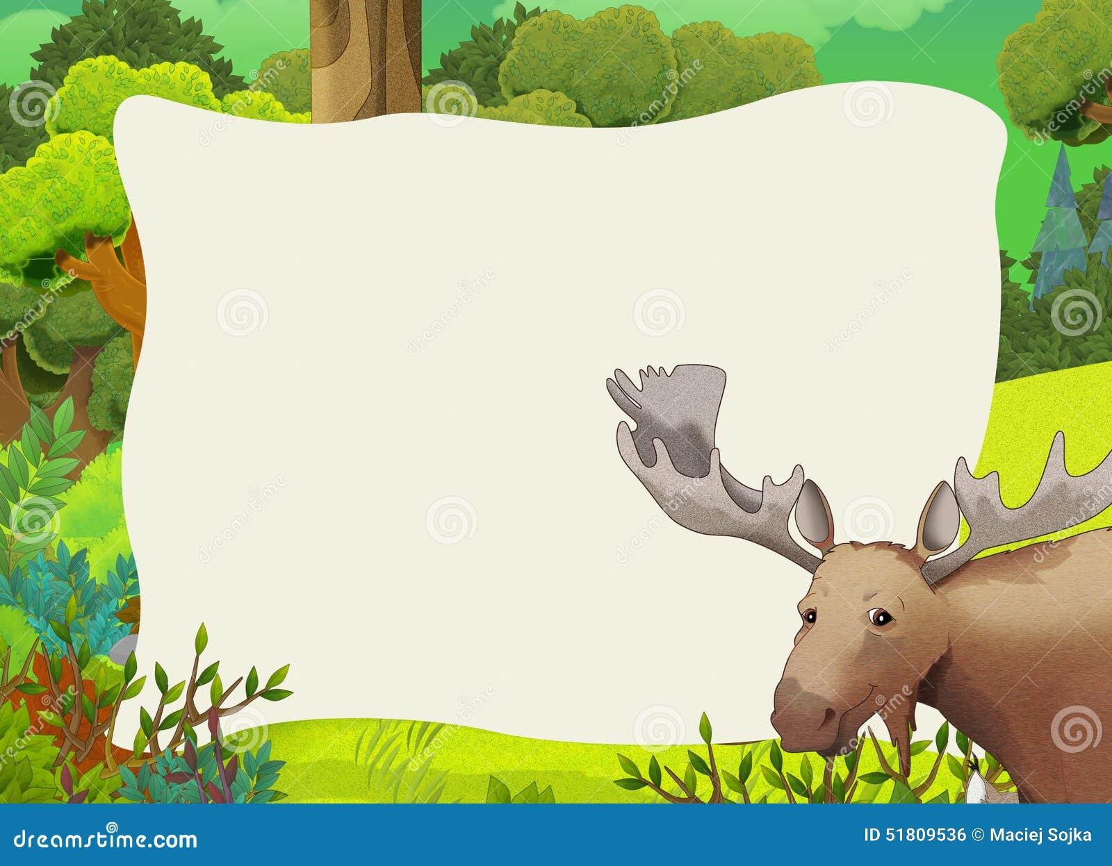 Cartoon Frame Scene - Forest - Moose Stock Illustration ...