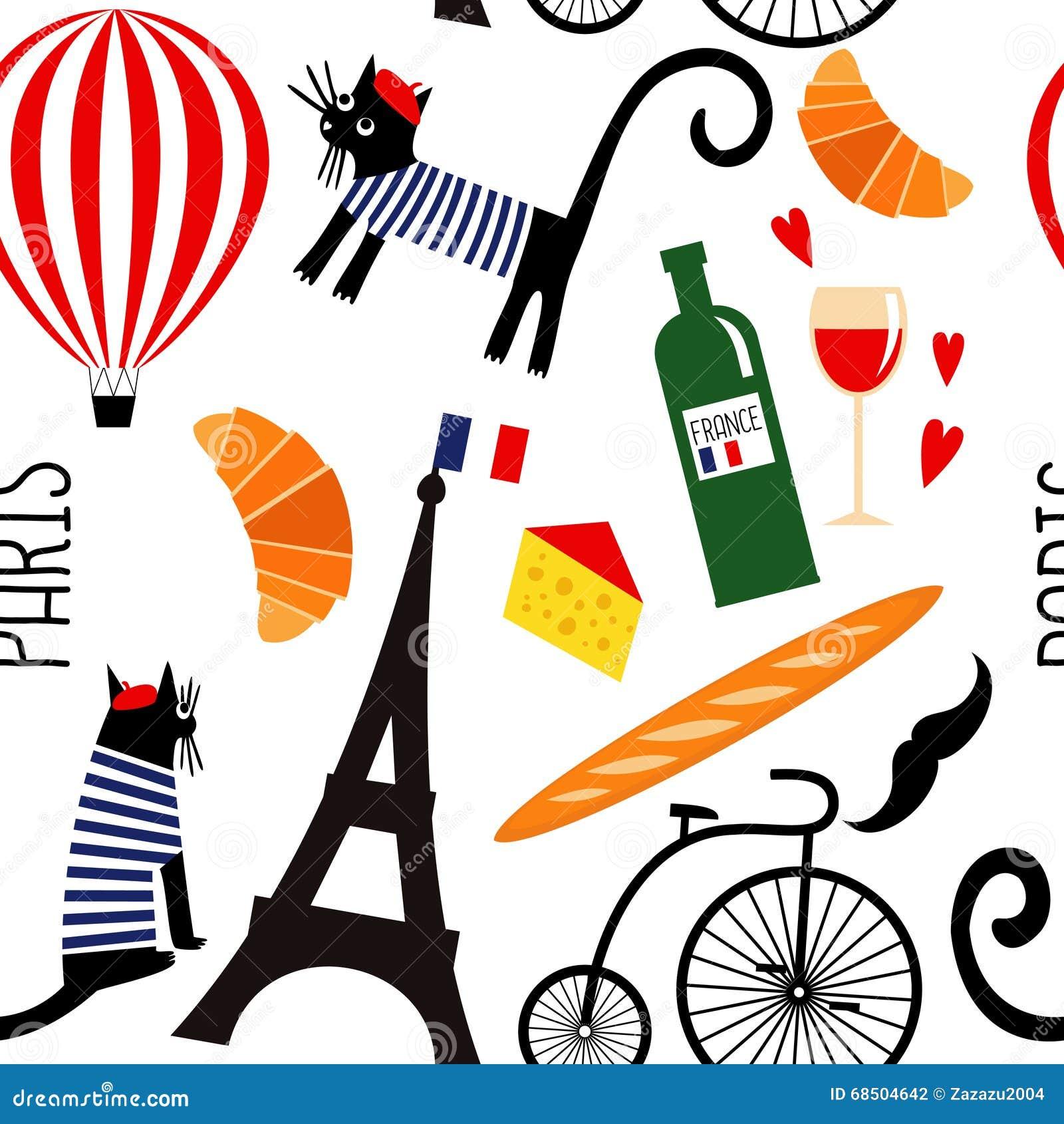 Cartoon french culture symbols seamless pattern stock