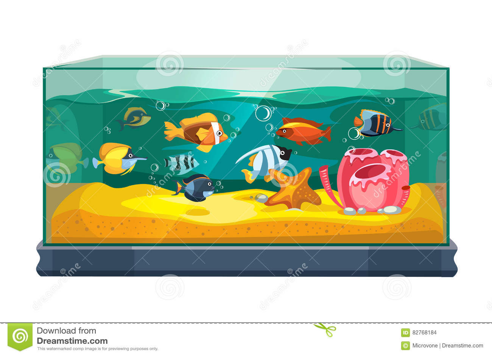 Cartoon Freshwater Fishes In Tank Aquarium Vector Illustration Stock