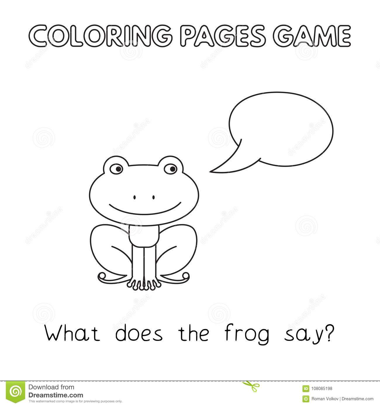 Cartoon Frog Coloring Book stock vector. Illustration of lesson ...
