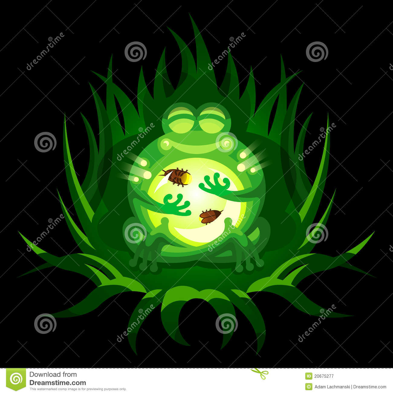 cartoon frog with fireflies royalty free stock photography