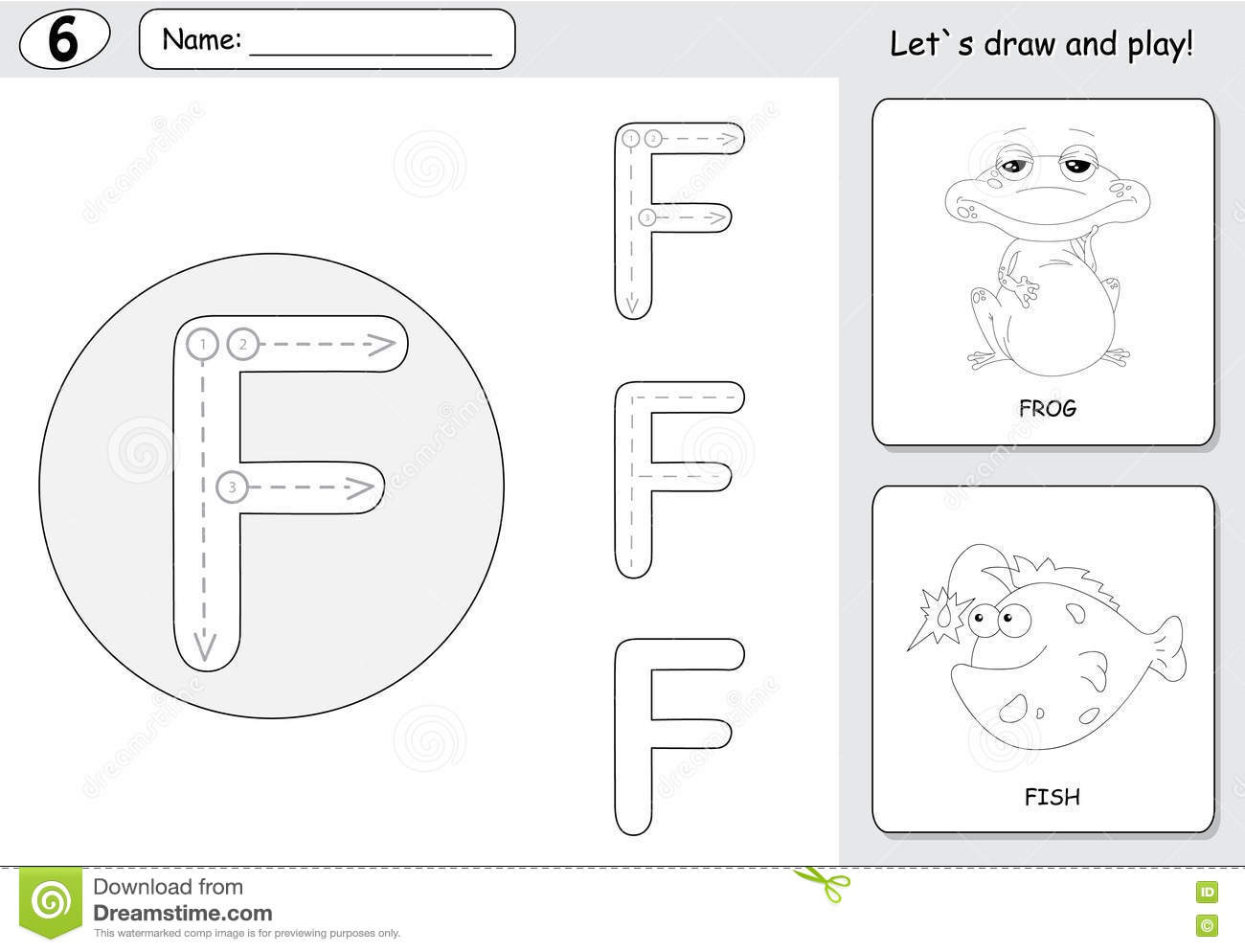 cartoon frog and fish  alphabet tracing worksheet  writing