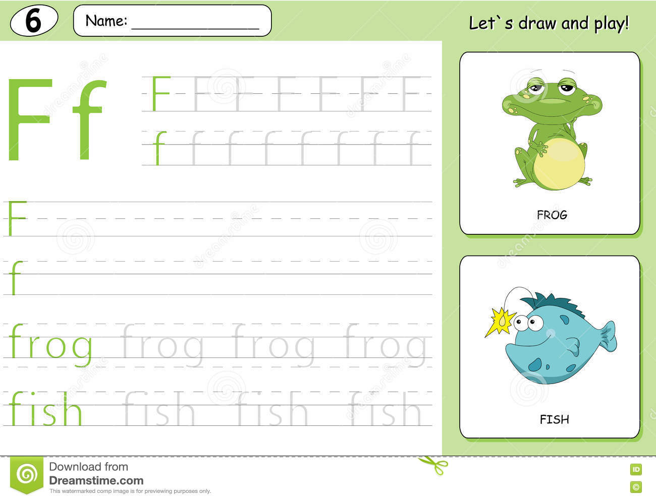 cartoon frog and fish alphabet tracing worksheet writing a z stock