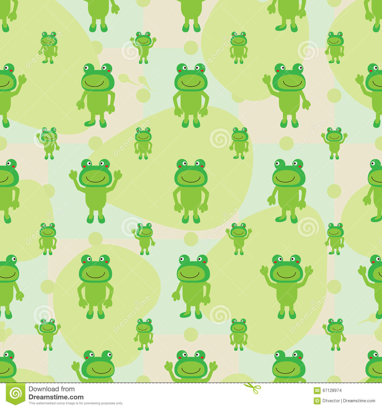 Cartoon frog symmetry leaves seamless pattern stock vector - Frog cartoon wallpaper ...