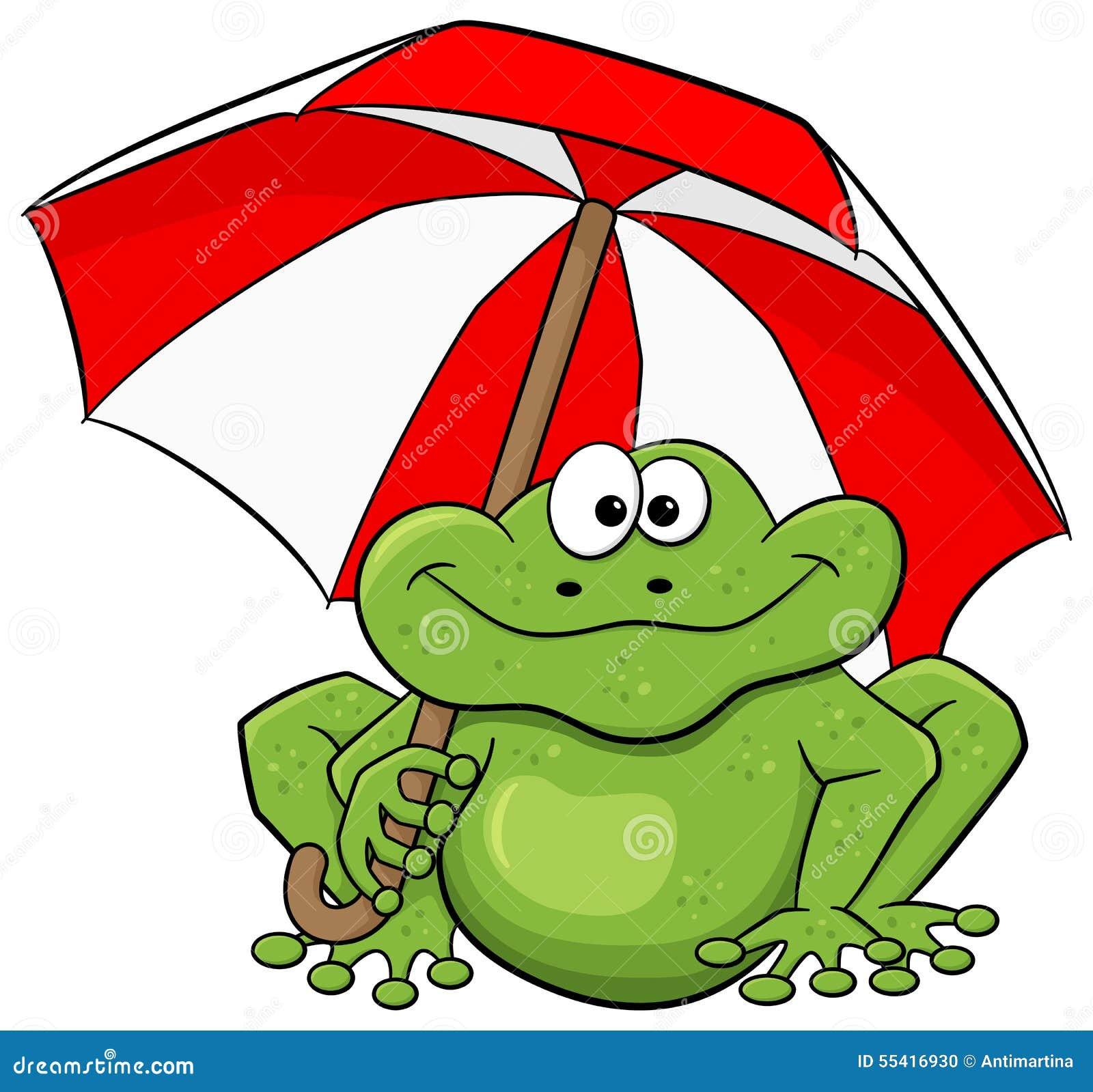 Cartoon frog with umbrella stock vector. Illustration of wildlife ...