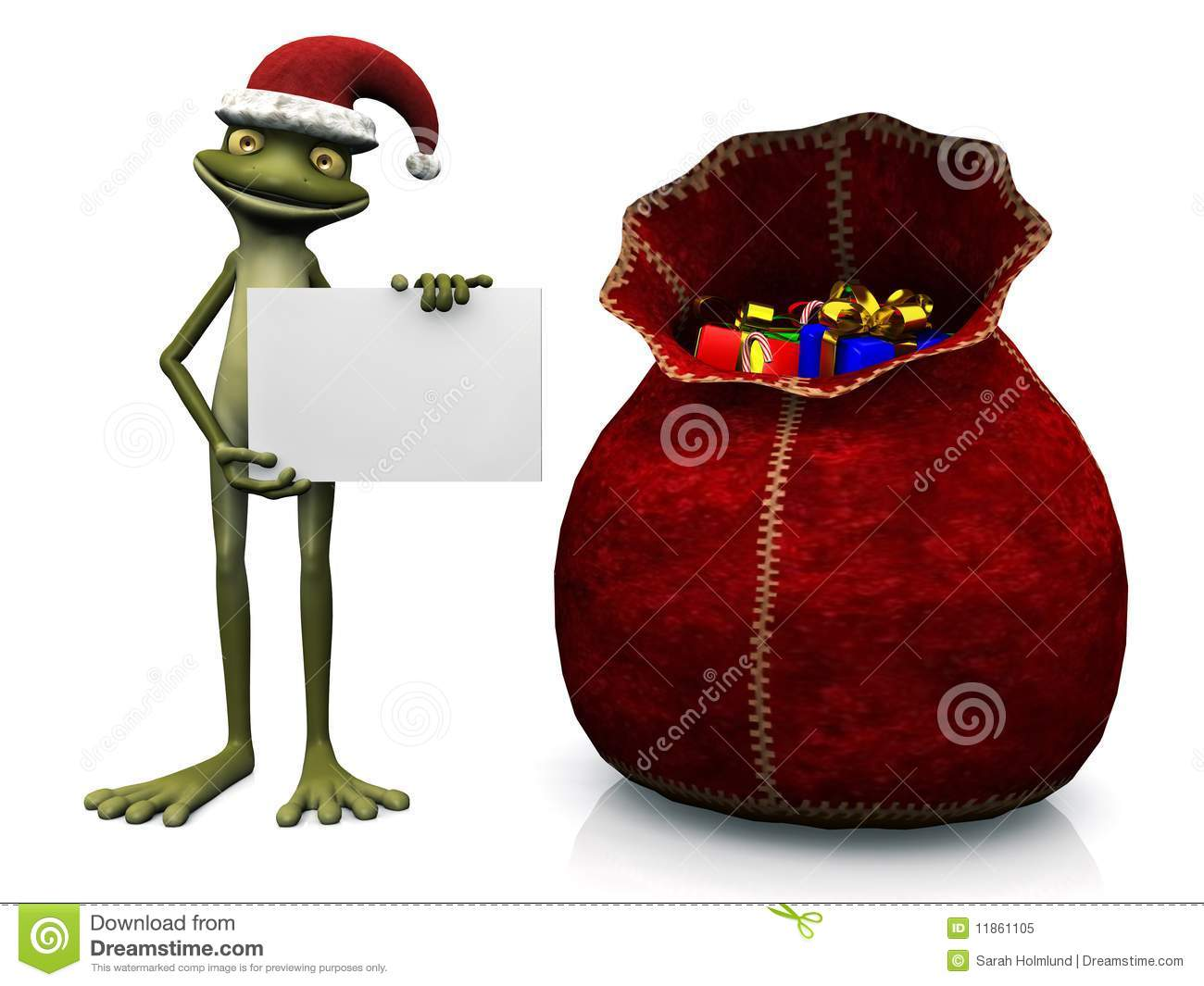 Cartoon frog wearing Santa hat, holding blank sign