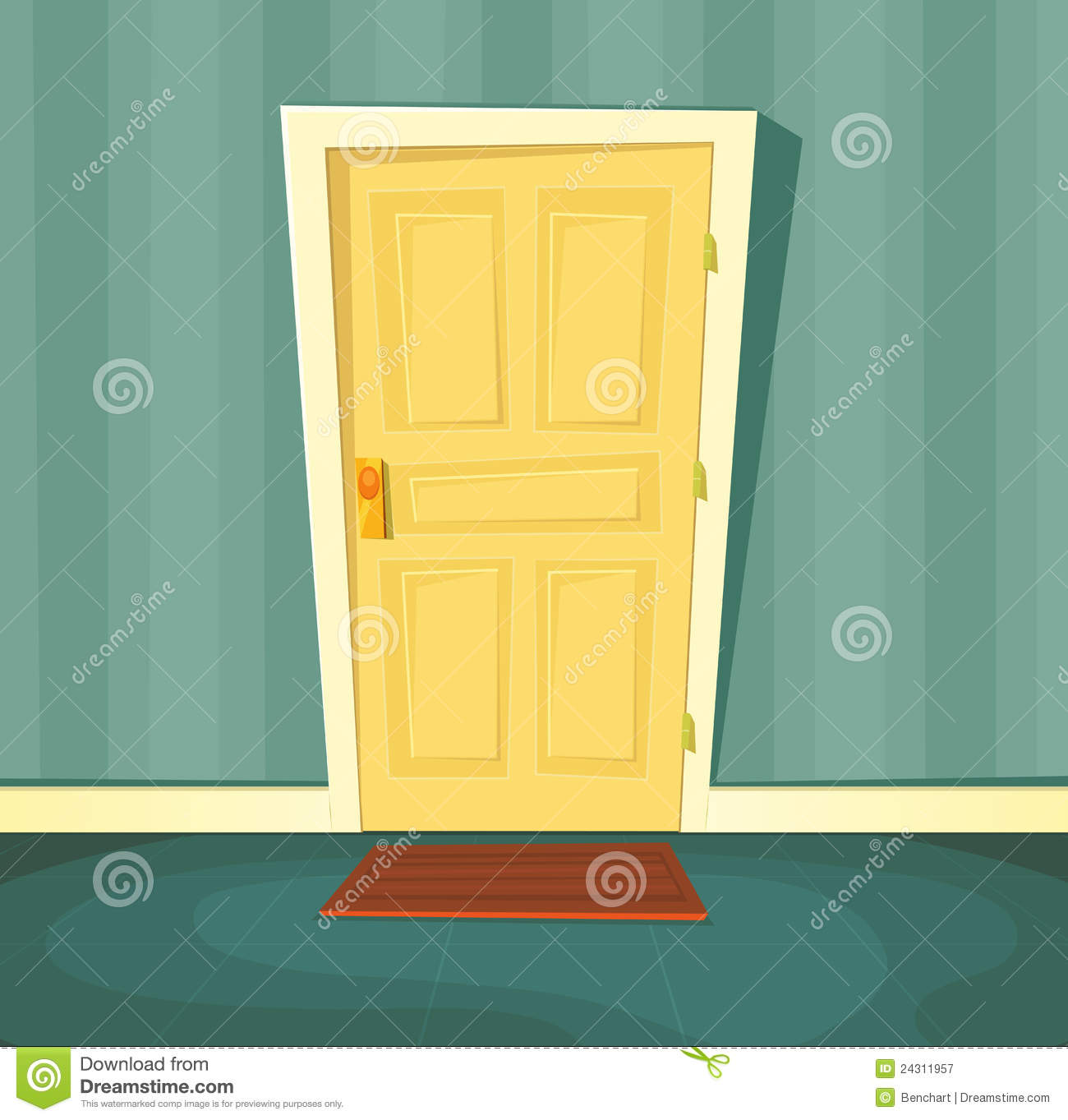 Front door clipart - Cartoon Door Front