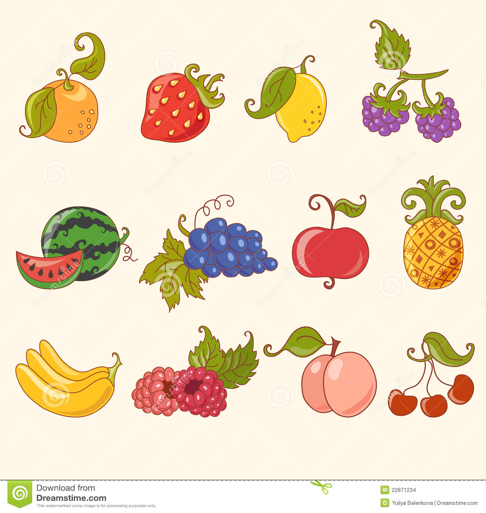 Cartoon Fruit Set Stock Vector Illustration Of Pineapple 22871234